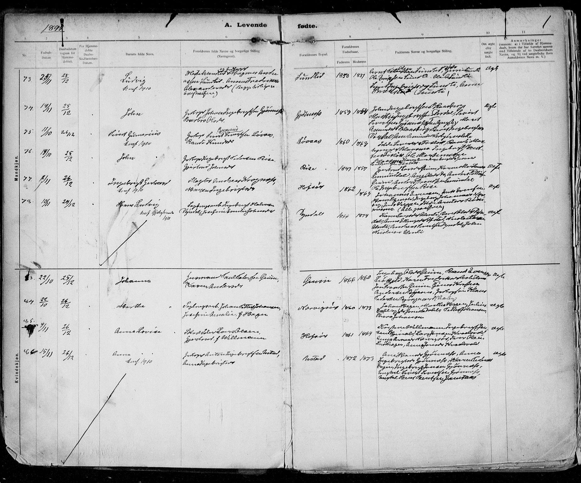 SAT, Ministerialprotokoller, klokkerbøker og fødselsregistre - Sør-Trøndelag, 668/L0811: Ministerialbok nr. 668A11, 1894-1913, s. 1