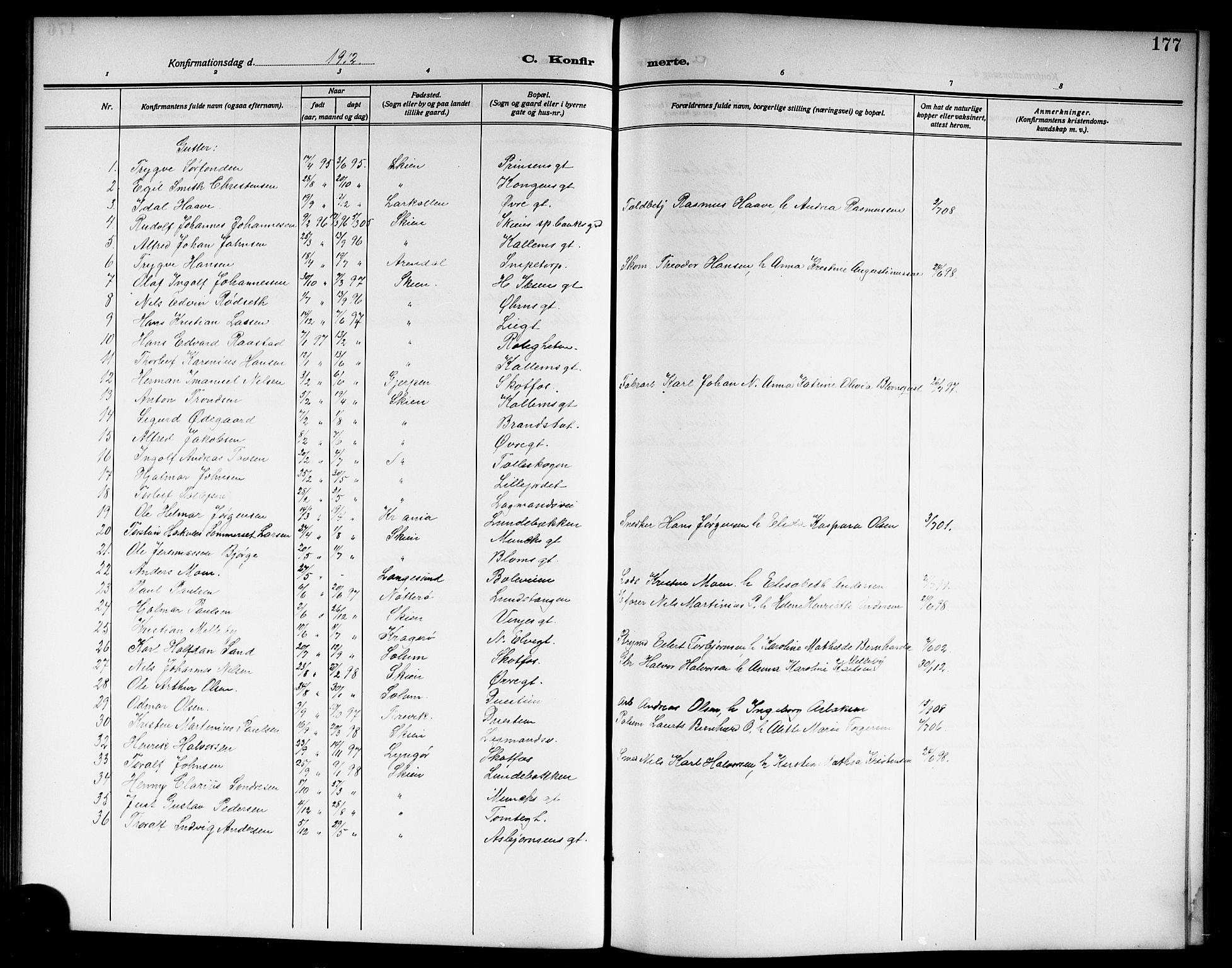 SAKO, Skien kirkebøker, G/Ga/L0009: Klokkerbok nr. 9, 1910-1920, s. 177