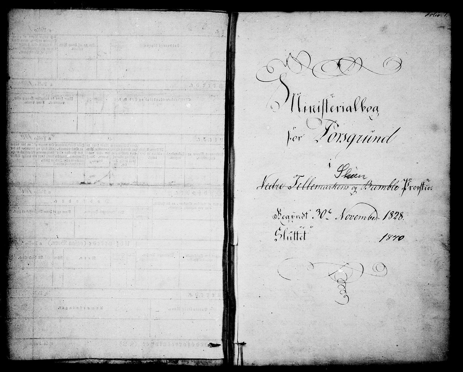 SAKO, Porsgrunn kirkebøker , F/Fa/L0005: Ministerialbok nr. 5, 1828-1840, s. 1