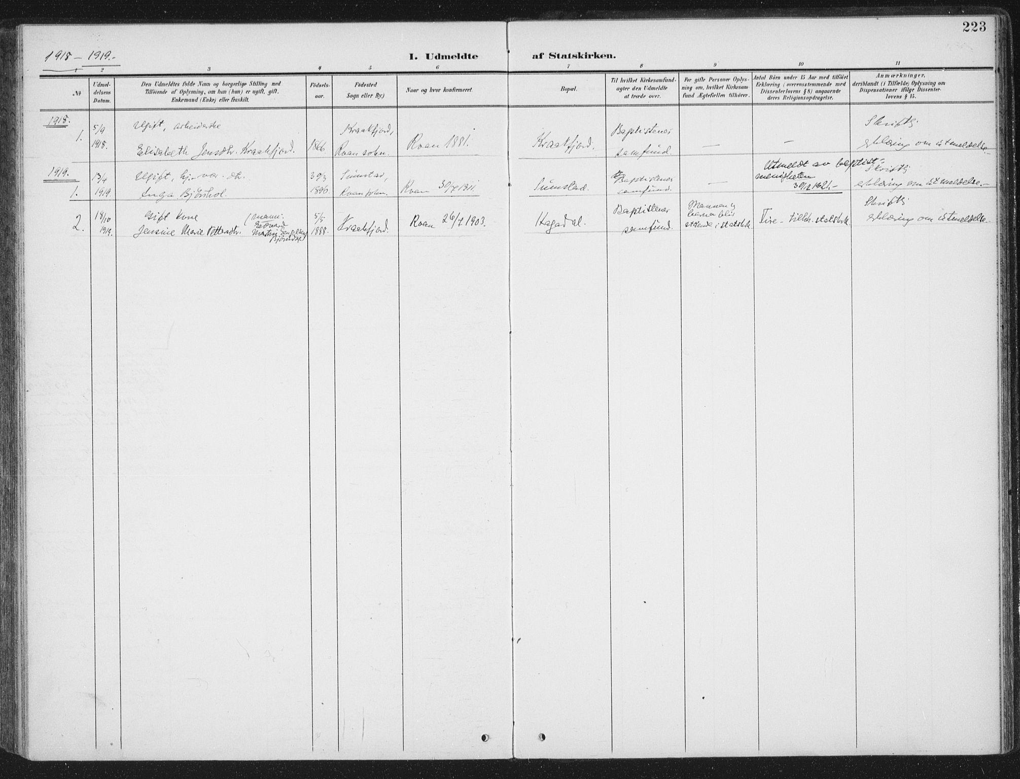 SAT, Ministerialprotokoller, klokkerbøker og fødselsregistre - Sør-Trøndelag, 657/L0709: Ministerialbok nr. 657A10, 1905-1919, s. 223