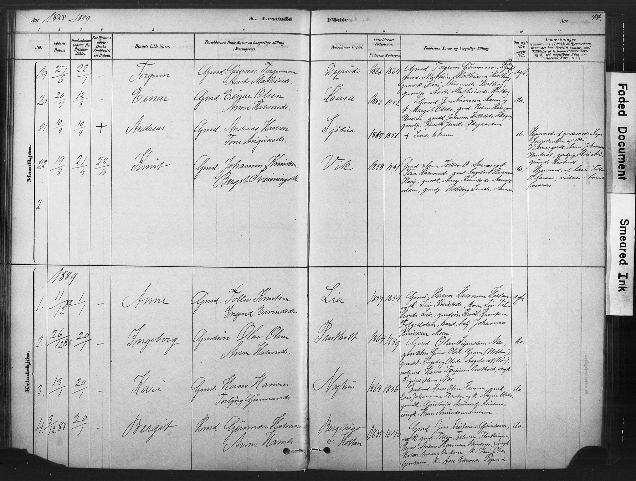 SAKO, Sauherad kirkebøker, F/Fb/L0002: Ministerialbok nr. II 2, 1878-1901, s. 44