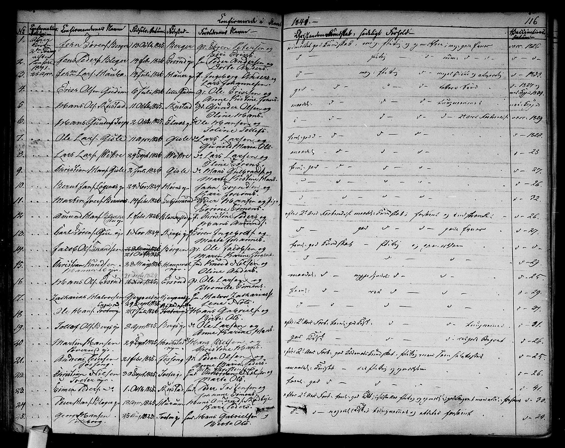 SAO, Asker prestekontor Kirkebøker, F/Fa/L0009: Ministerialbok nr. I 9, 1825-1878, s. 116
