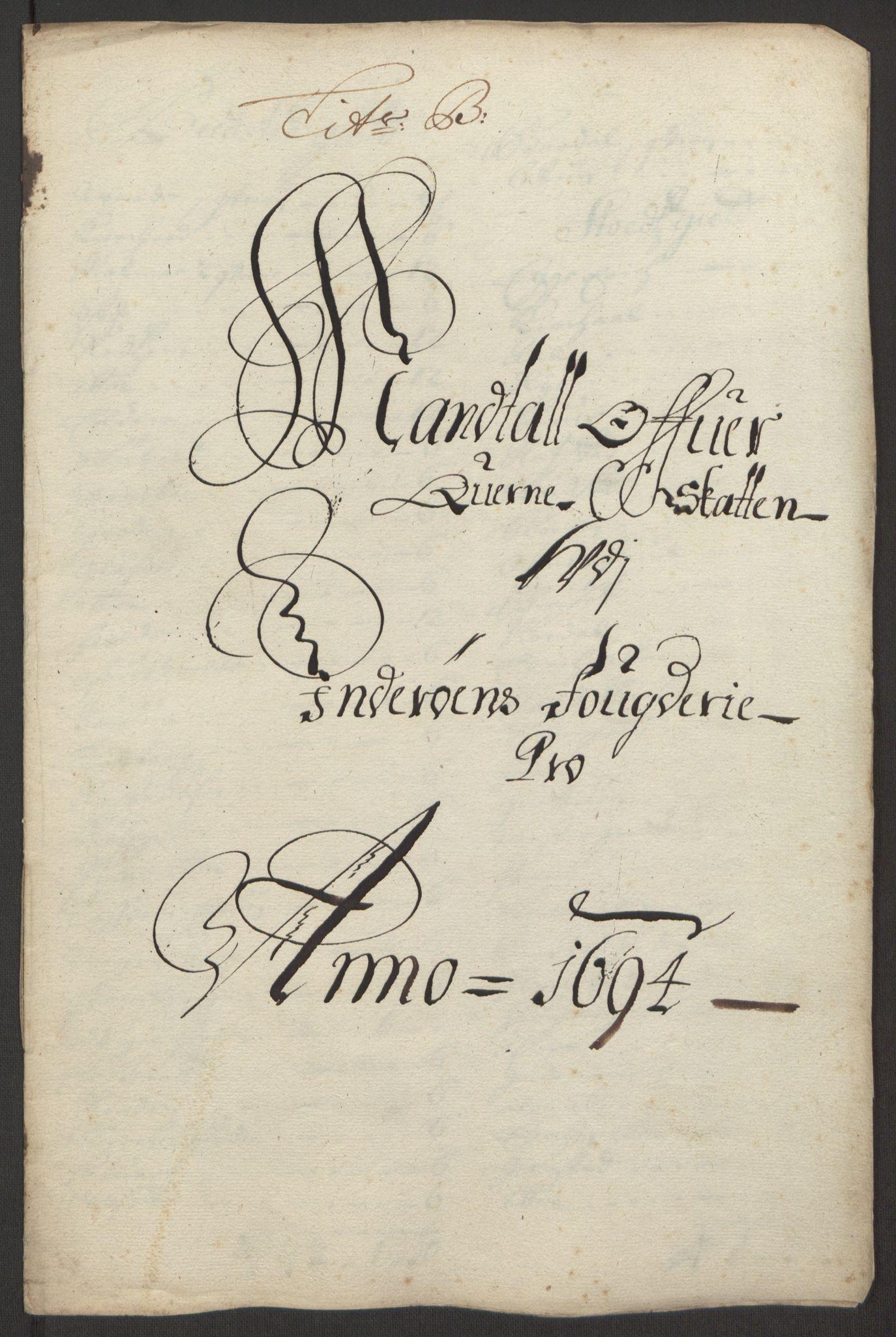 RA, Rentekammeret inntil 1814, Reviderte regnskaper, Fogderegnskap, R63/L4308: Fogderegnskap Inderøy, 1692-1694, s. 533