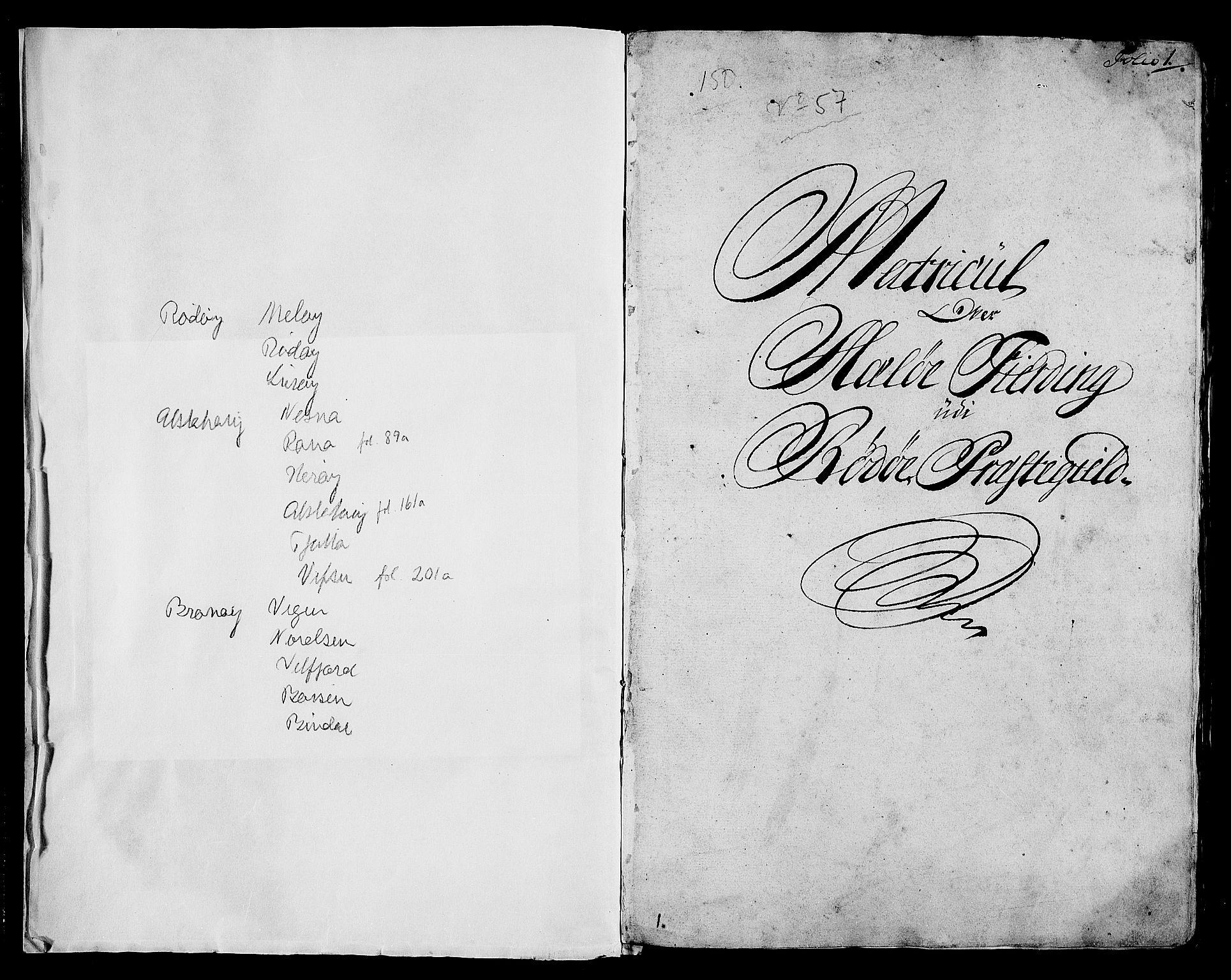 RA, Rentekammeret inntil 1814, Realistisk ordnet avdeling, N/Nb/Nbf/L0171: Helgeland matrikkelprotokoll, 1723, s. 1a