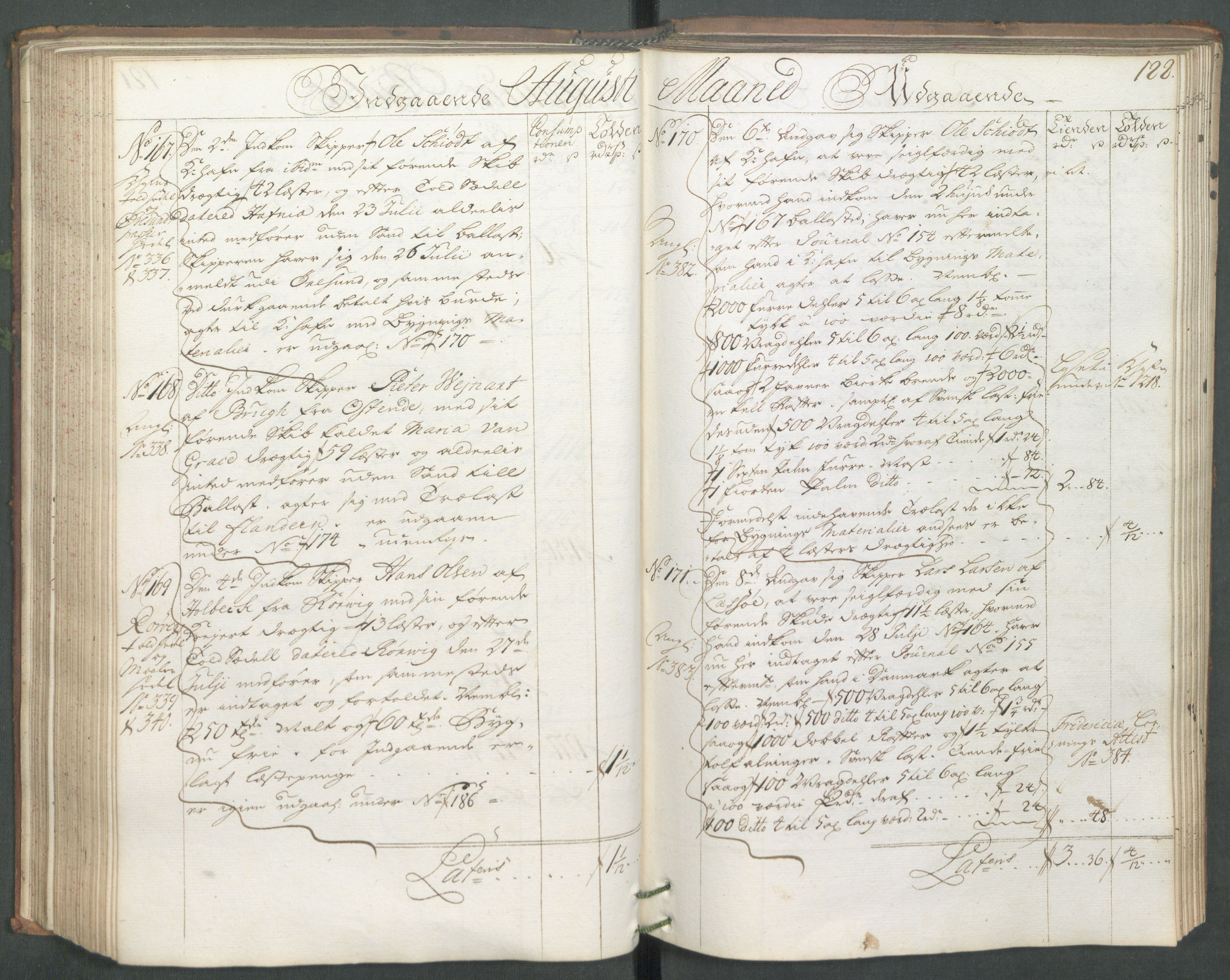 RA, Generaltollkammeret, tollregnskaper, R01/L0006: Tollregnskaper Fredrikshald, 1731, s. 122