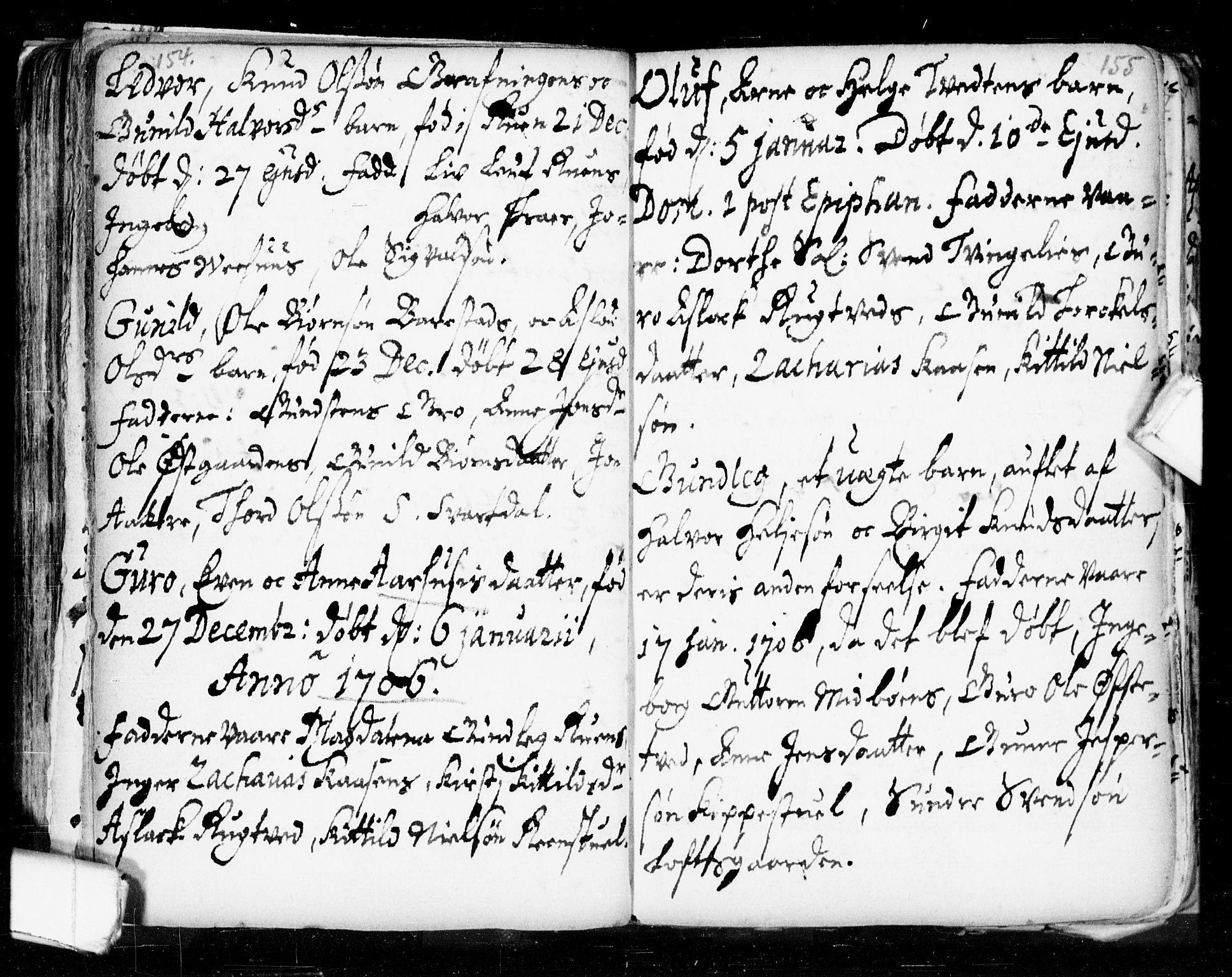 SAKO, Seljord kirkebøker, F/Fa/L0002: Ministerialbok nr. I 2, 1689-1713, s. 154-155