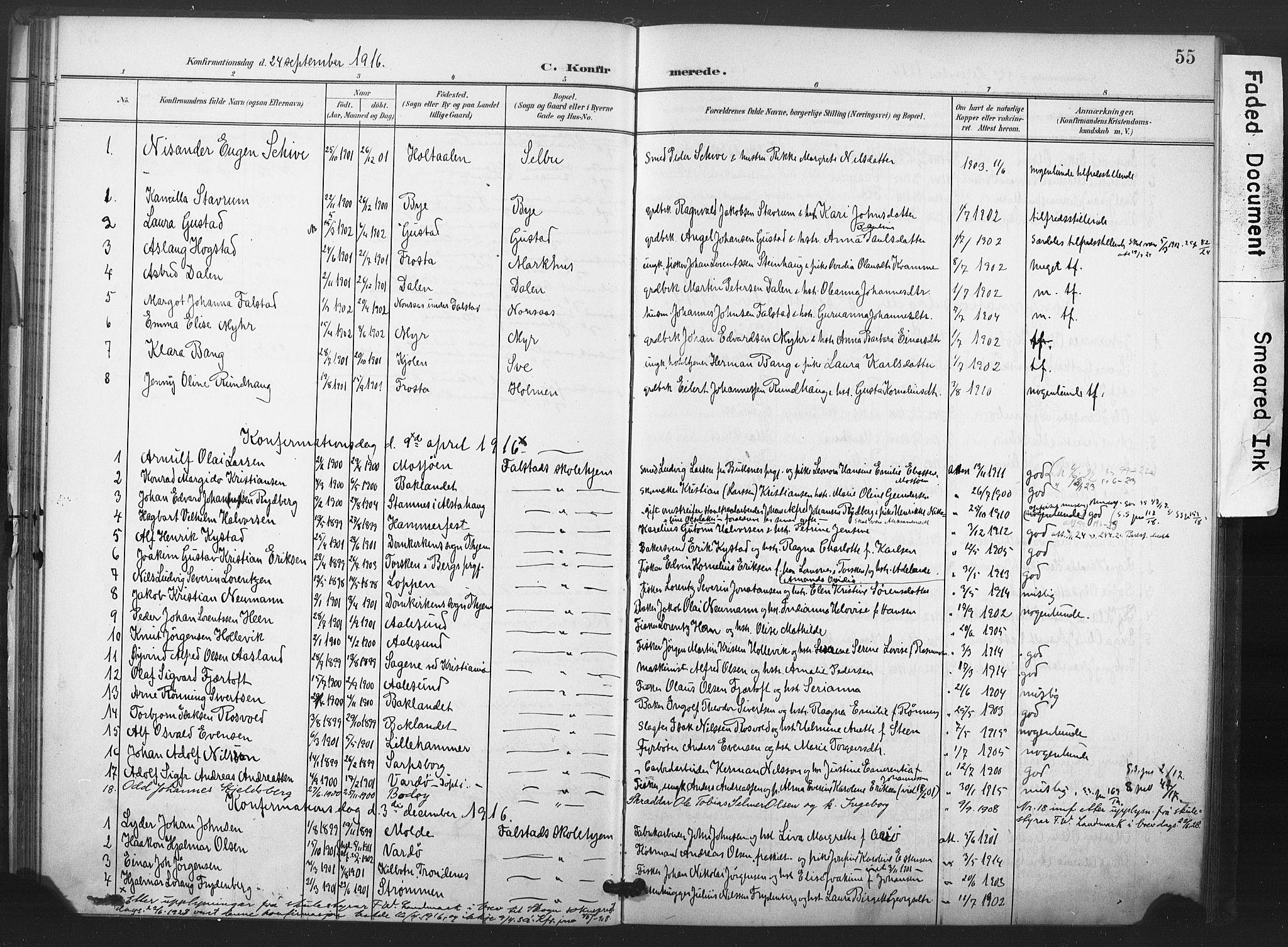 SAT, Ministerialprotokoller, klokkerbøker og fødselsregistre - Nord-Trøndelag, 719/L0179: Ministerialbok nr. 719A02, 1901-1923, s. 55