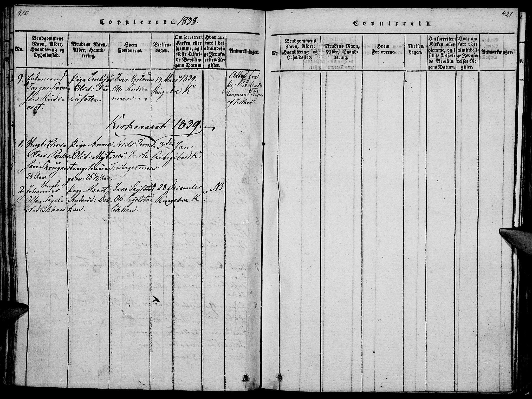 SAH, Ringebu prestekontor, Ministerialbok nr. 4, 1821-1839, s. 420-421