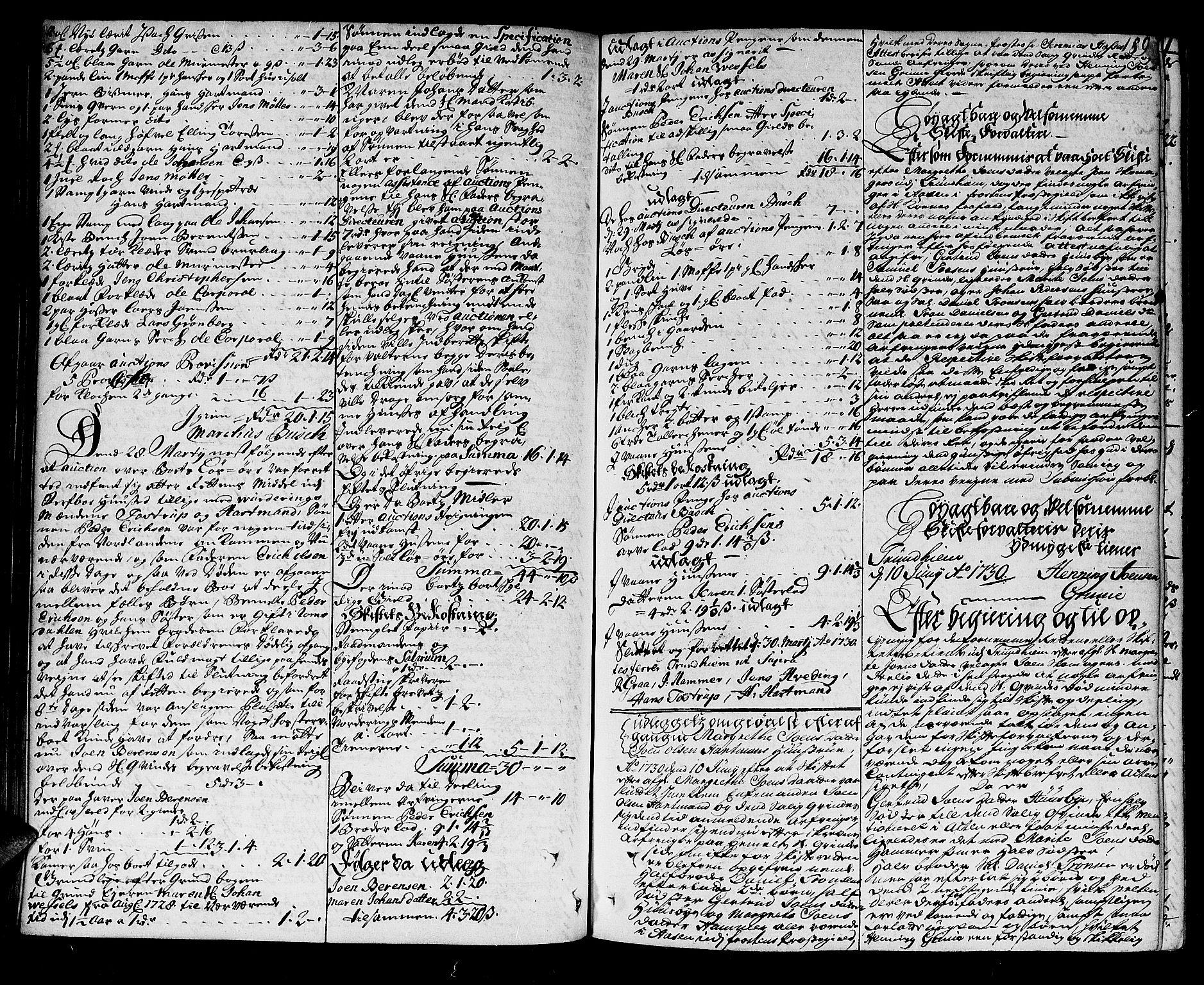 SAT, Trondheim byfogd, 3/3A/L0010: Skifteprotokoll - gml.nr.10. (m/ register) U, 1725-1733, s. 188b-189a
