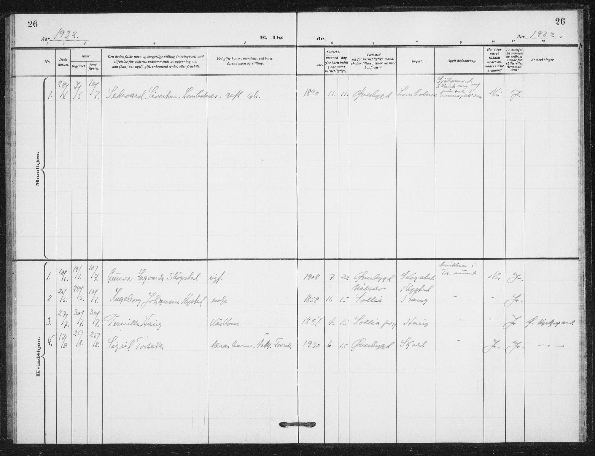 SATØ, Målselv sokneprestembete, G/Ga/Gab/L0012klokker: Klokkerbok nr. 12, 1900-1936, s. 26