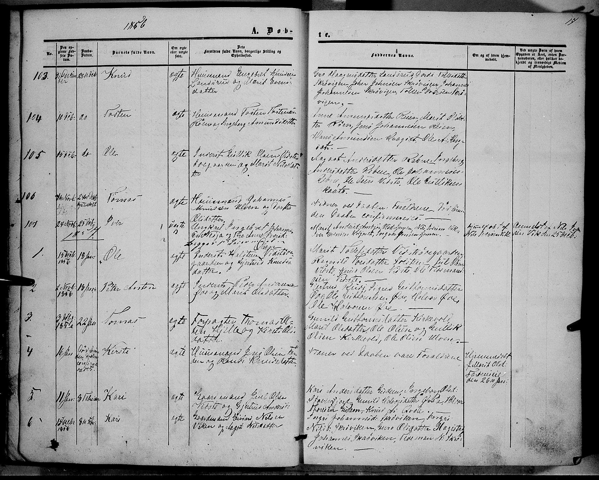 SAH, Vestre Slidre prestekontor, Ministerialbok nr. 2, 1856-1864, s. 17