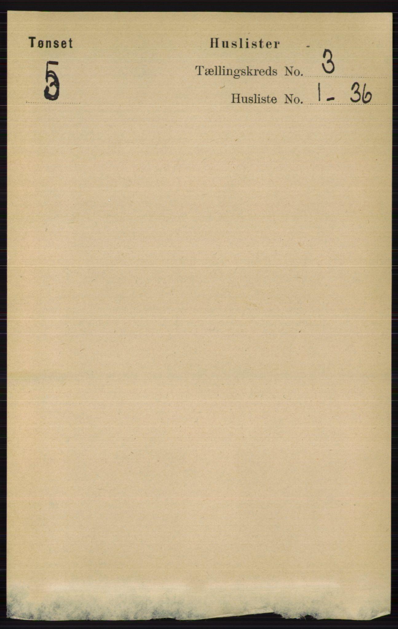 RA, Folketelling 1891 for 0437 Tynset herred, 1891, s. 543