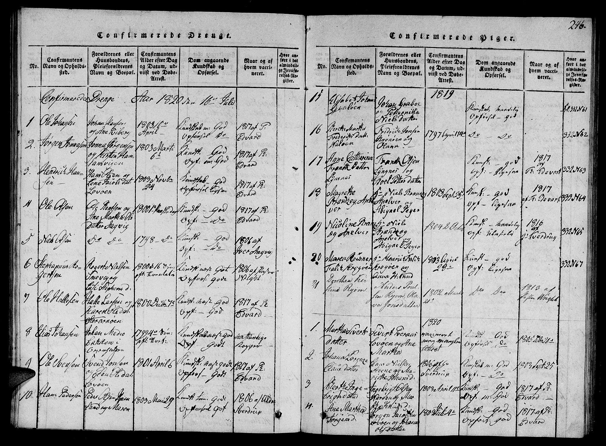 SAT, Ministerialprotokoller, klokkerbøker og fødselsregistre - Nord-Trøndelag, 784/L0679: Klokkerbok nr. 784C01 /1, 1816-1822, s. 246