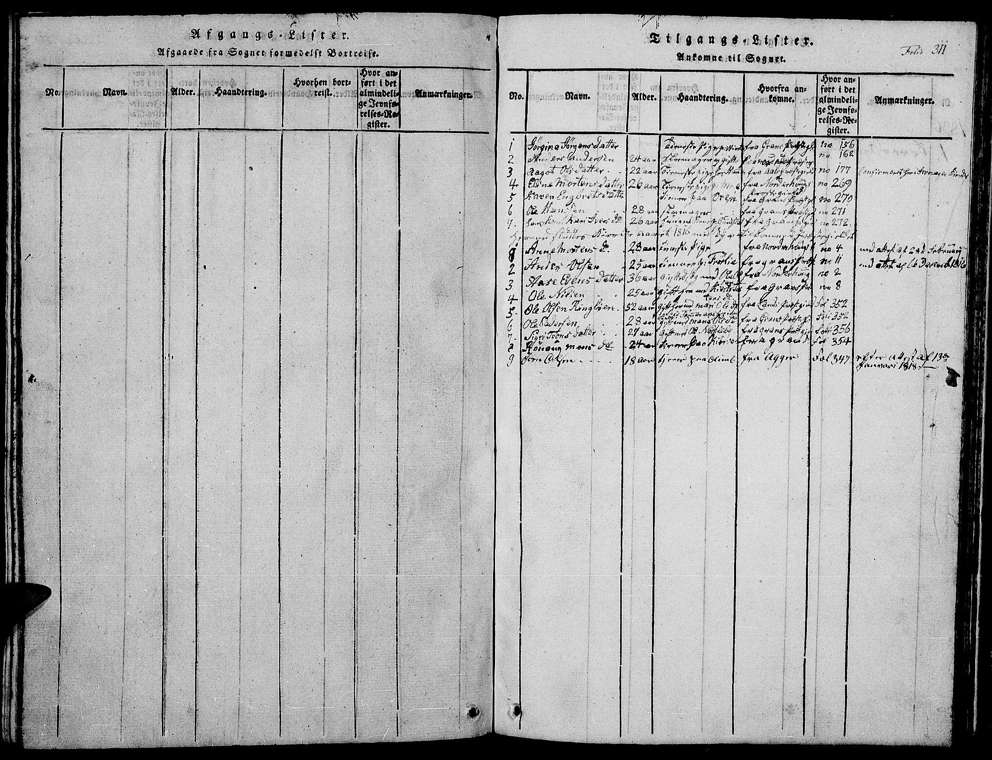 SAH, Jevnaker prestekontor, Klokkerbok nr. 1, 1815-1837, s. 311