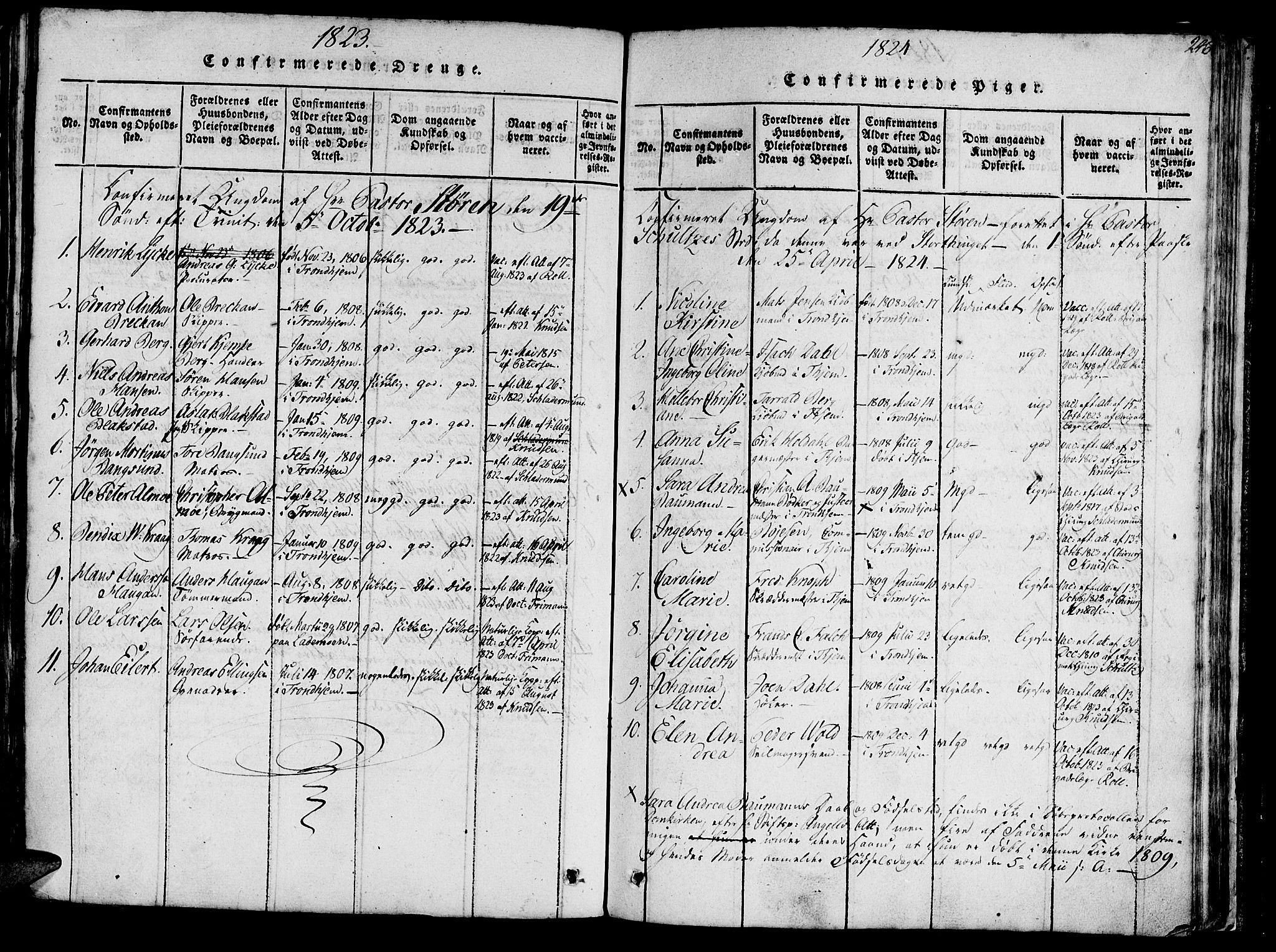SAT, Ministerialprotokoller, klokkerbøker og fødselsregistre - Sør-Trøndelag, 602/L0135: Klokkerbok nr. 602C03, 1815-1832, s. 246