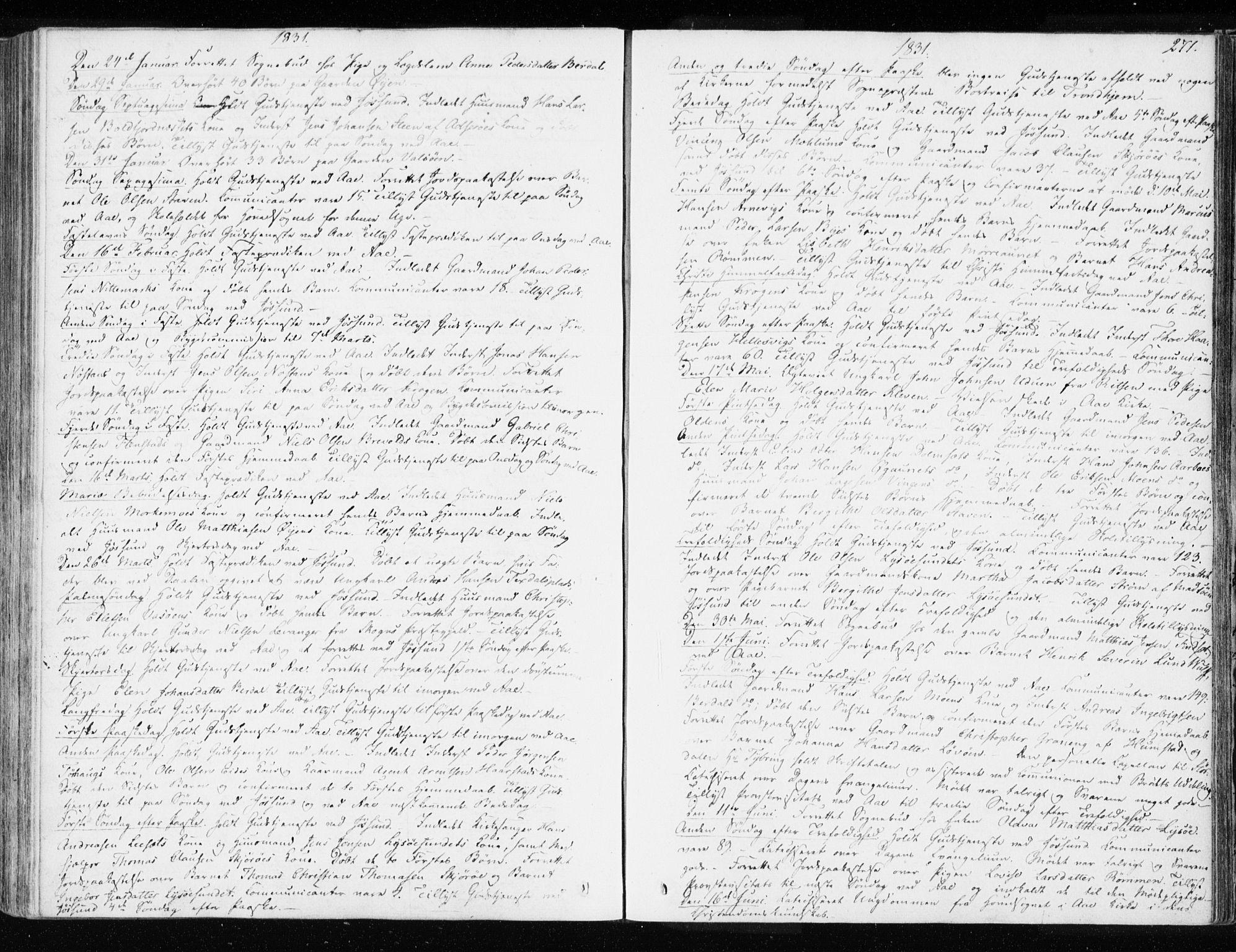 SAT, Ministerialprotokoller, klokkerbøker og fødselsregistre - Sør-Trøndelag, 655/L0676: Ministerialbok nr. 655A05, 1830-1847, s. 271