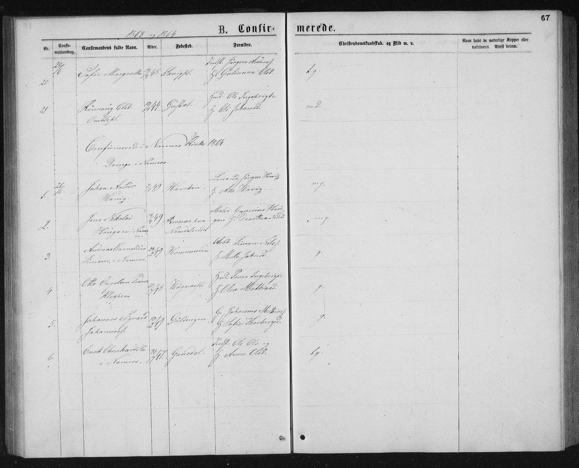 SAT, Ministerialprotokoller, klokkerbøker og fødselsregistre - Nord-Trøndelag, 768/L0567: Ministerialbok nr. 768A02, 1837-1865, s. 67