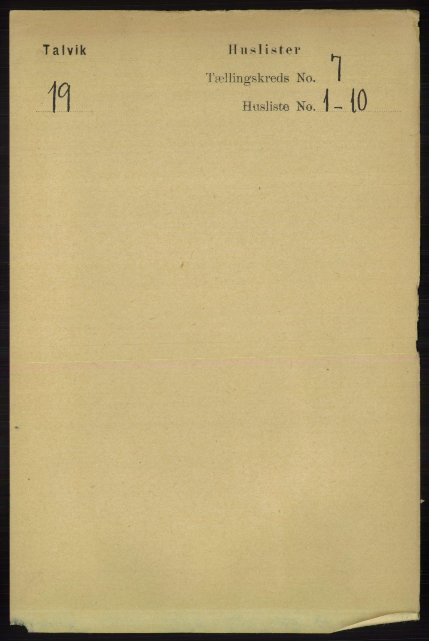 RA, Folketelling 1891 for 2013 Talvik herred, 1891, s. 1961