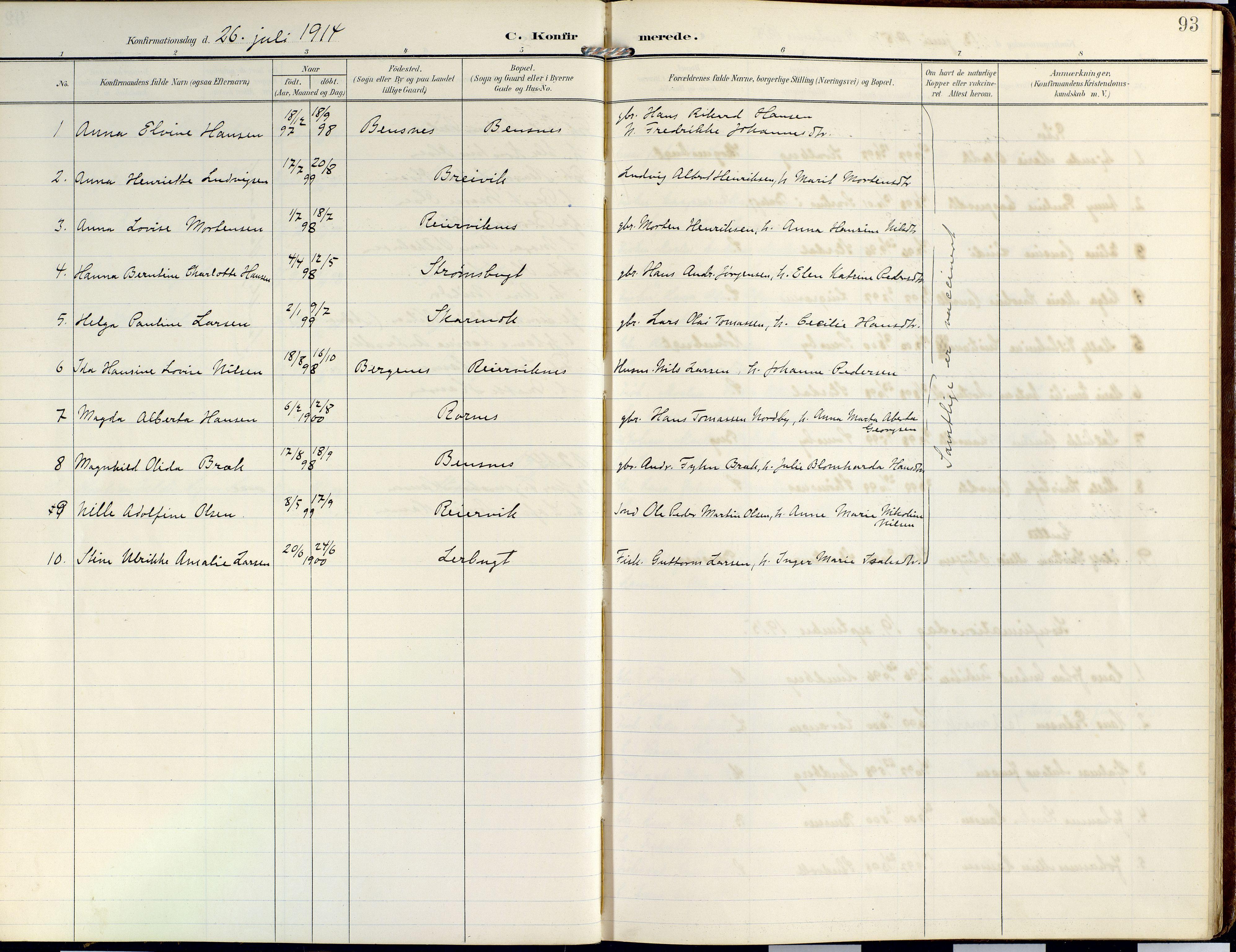 SATØ, Lyngen sokneprestembete, Ministerialbok nr. 14, 1905-1920, s. 93