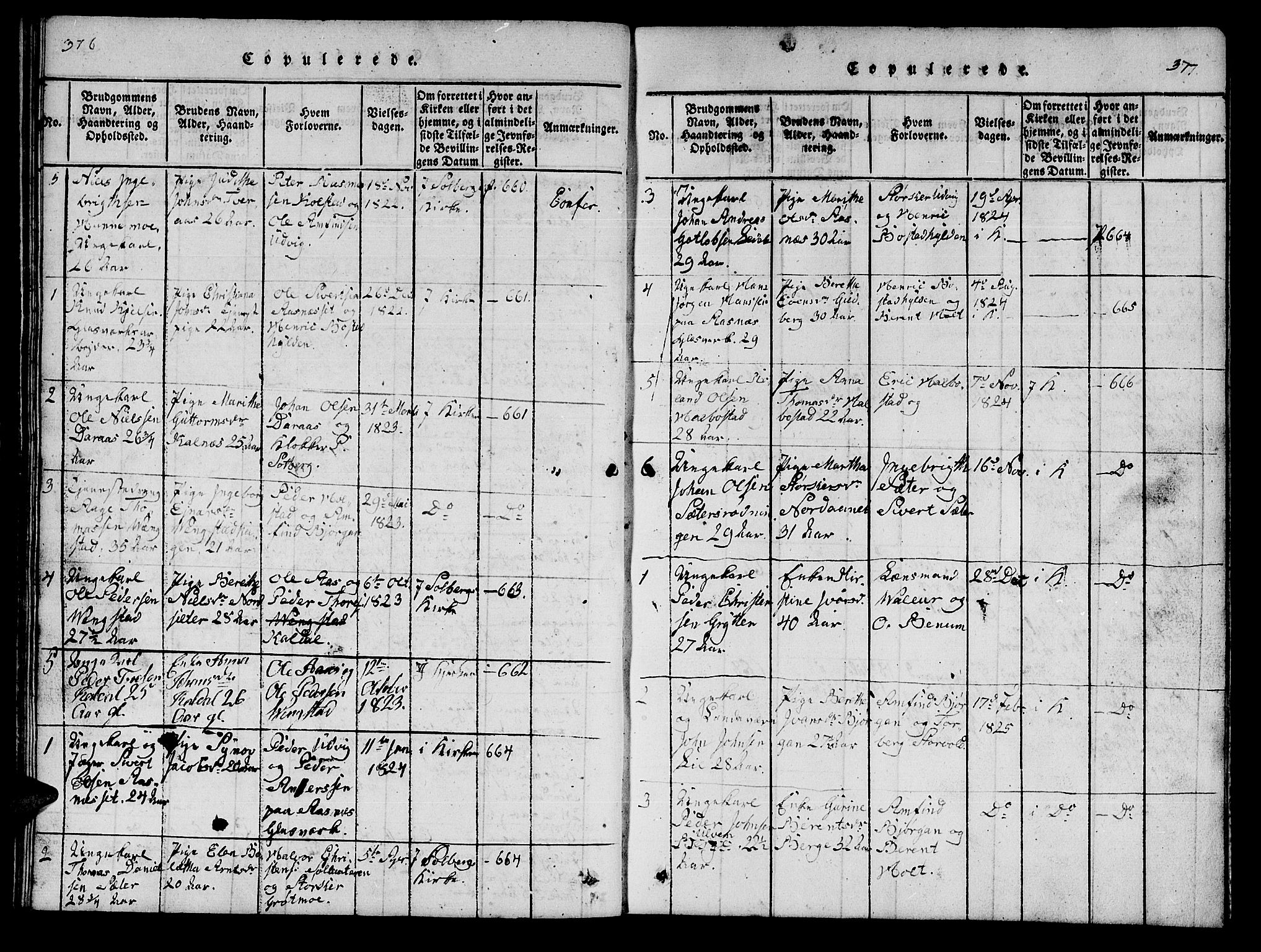 SAT, Ministerialprotokoller, klokkerbøker og fødselsregistre - Nord-Trøndelag, 742/L0411: Klokkerbok nr. 742C02, 1817-1825, s. 376-377