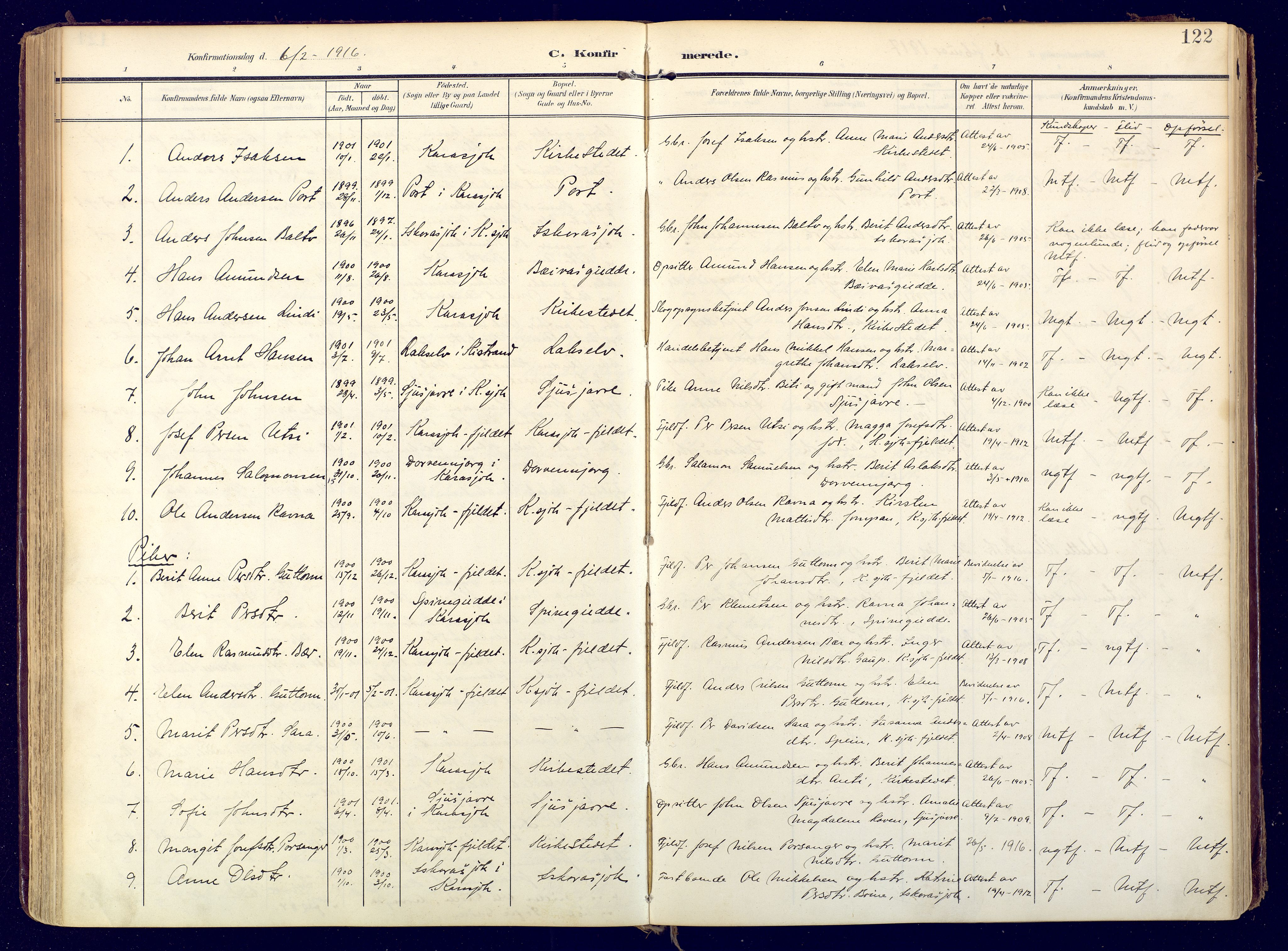 SATØ, Karasjok sokneprestkontor, H/Ha: Ministerialbok nr. 3, 1907-1926, s. 122