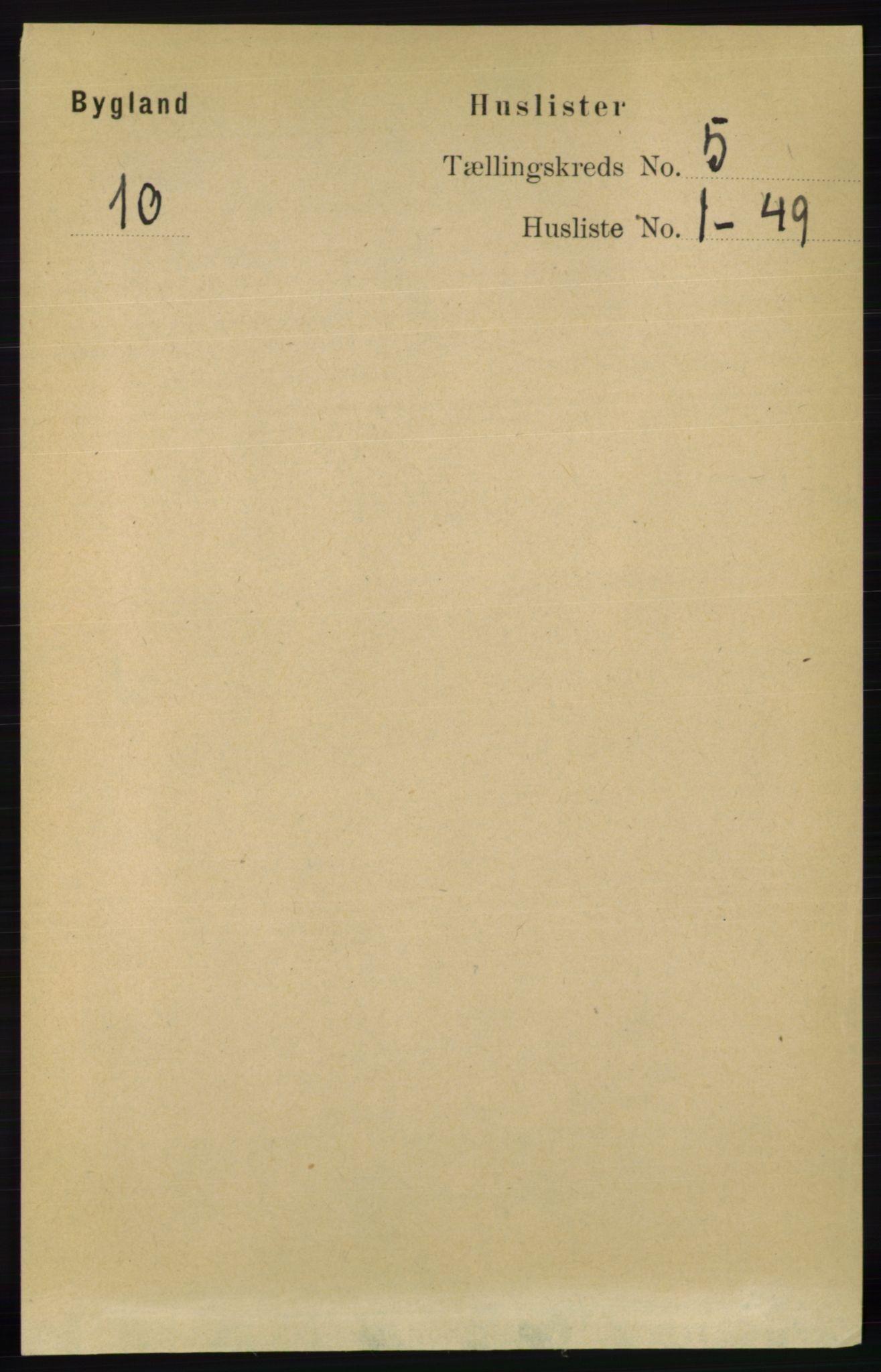 RA, Folketelling 1891 for 0938 Bygland herred, 1891, s. 997