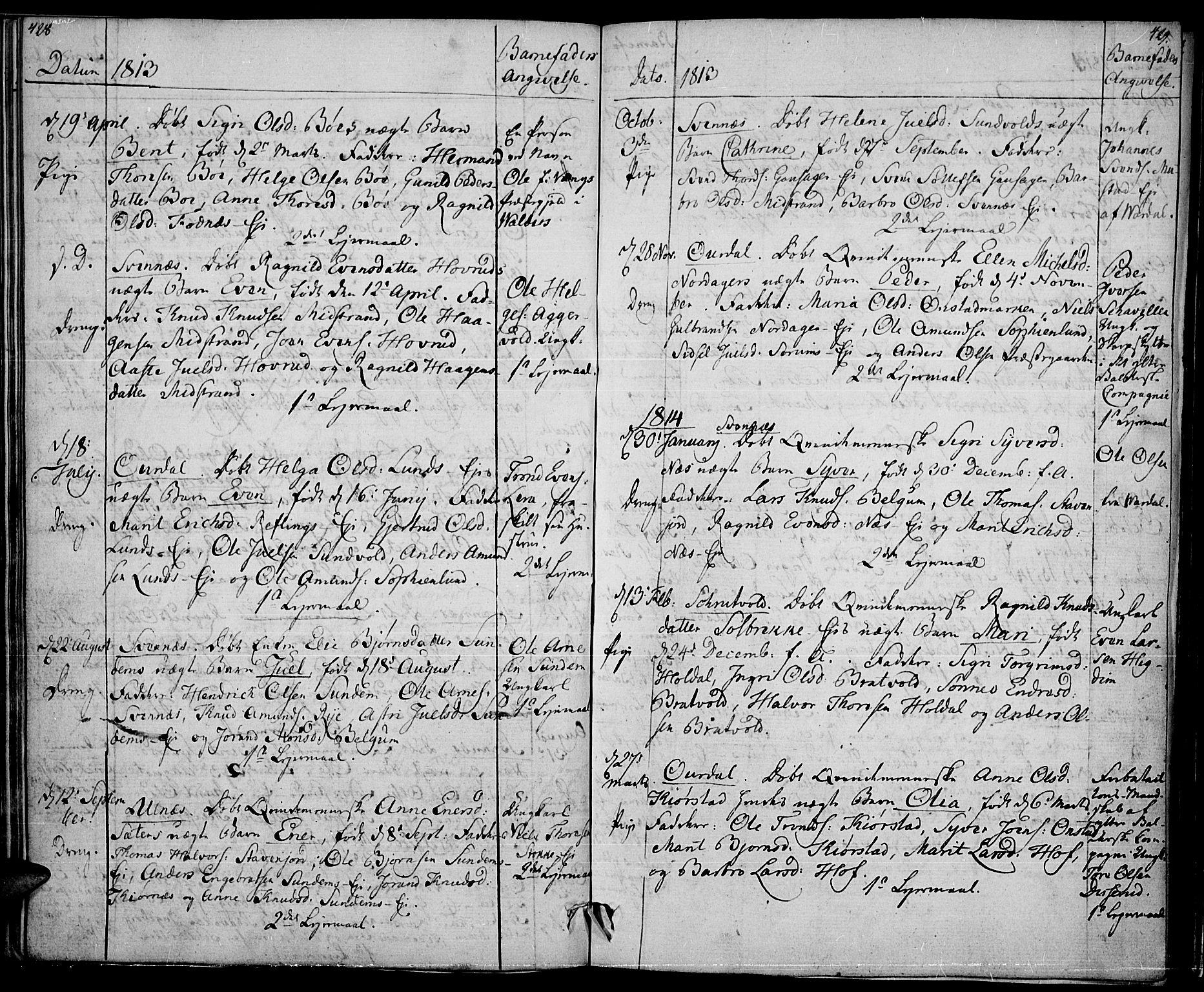 SAH, Nord-Aurdal prestekontor, Ministerialbok nr. 1, 1808-1815, s. 428-429
