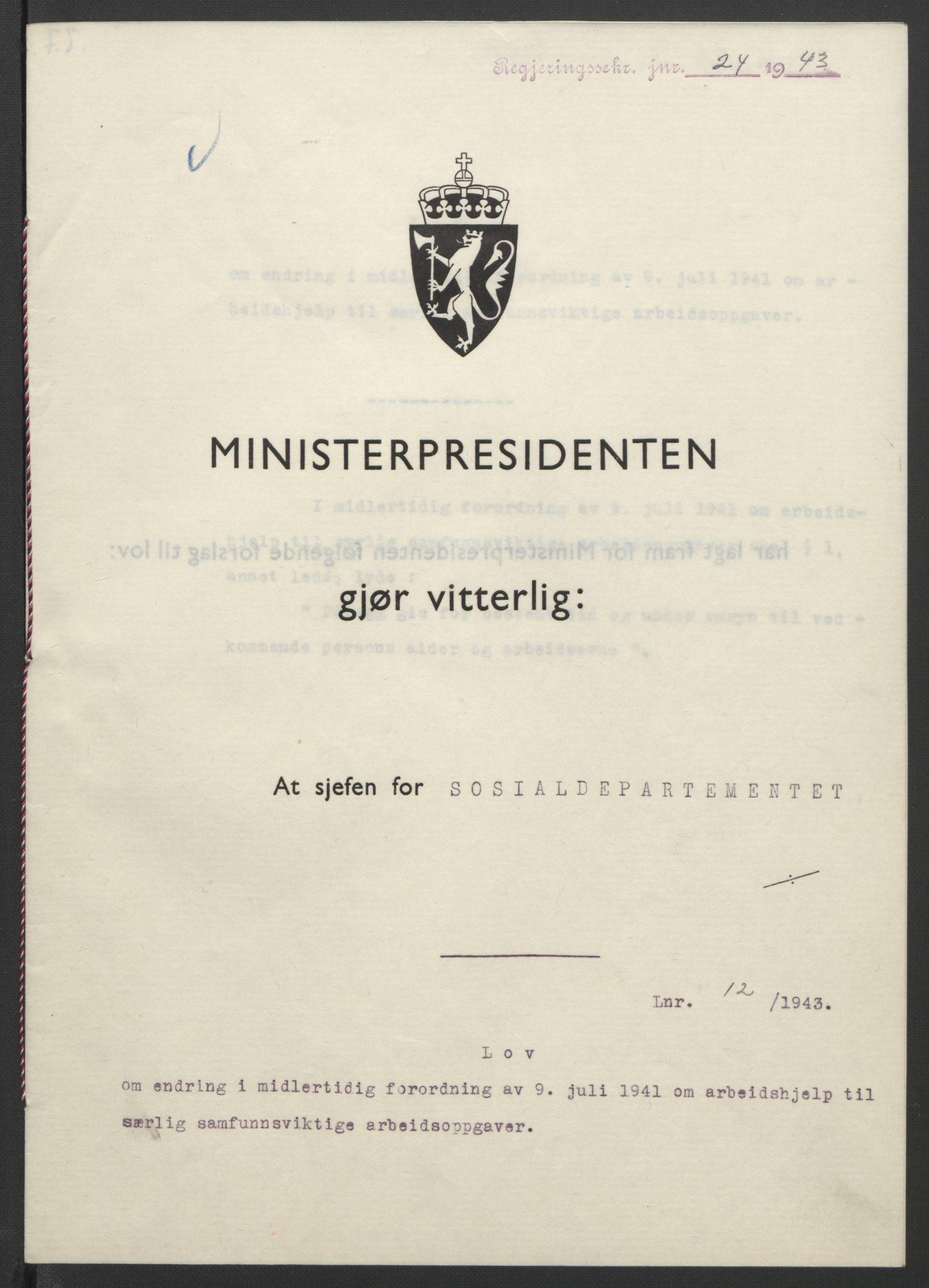 RA, NS-administrasjonen 1940-1945 (Statsrådsekretariatet, de kommisariske statsråder mm), D/Db/L0099: Lover, 1943, s. 48