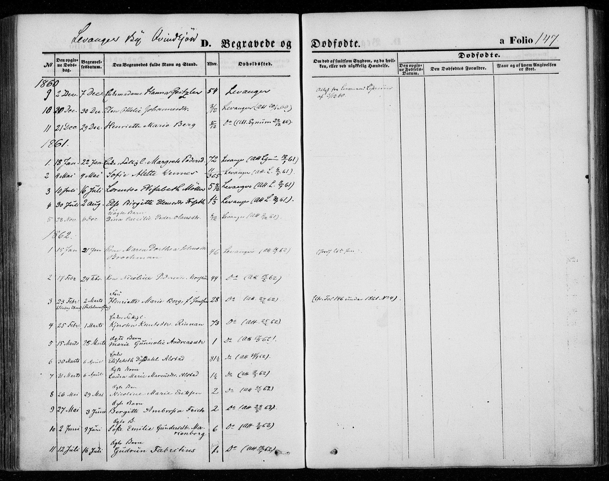SAT, Ministerialprotokoller, klokkerbøker og fødselsregistre - Nord-Trøndelag, 720/L0184: Ministerialbok nr. 720A02 /1, 1855-1863, s. 147