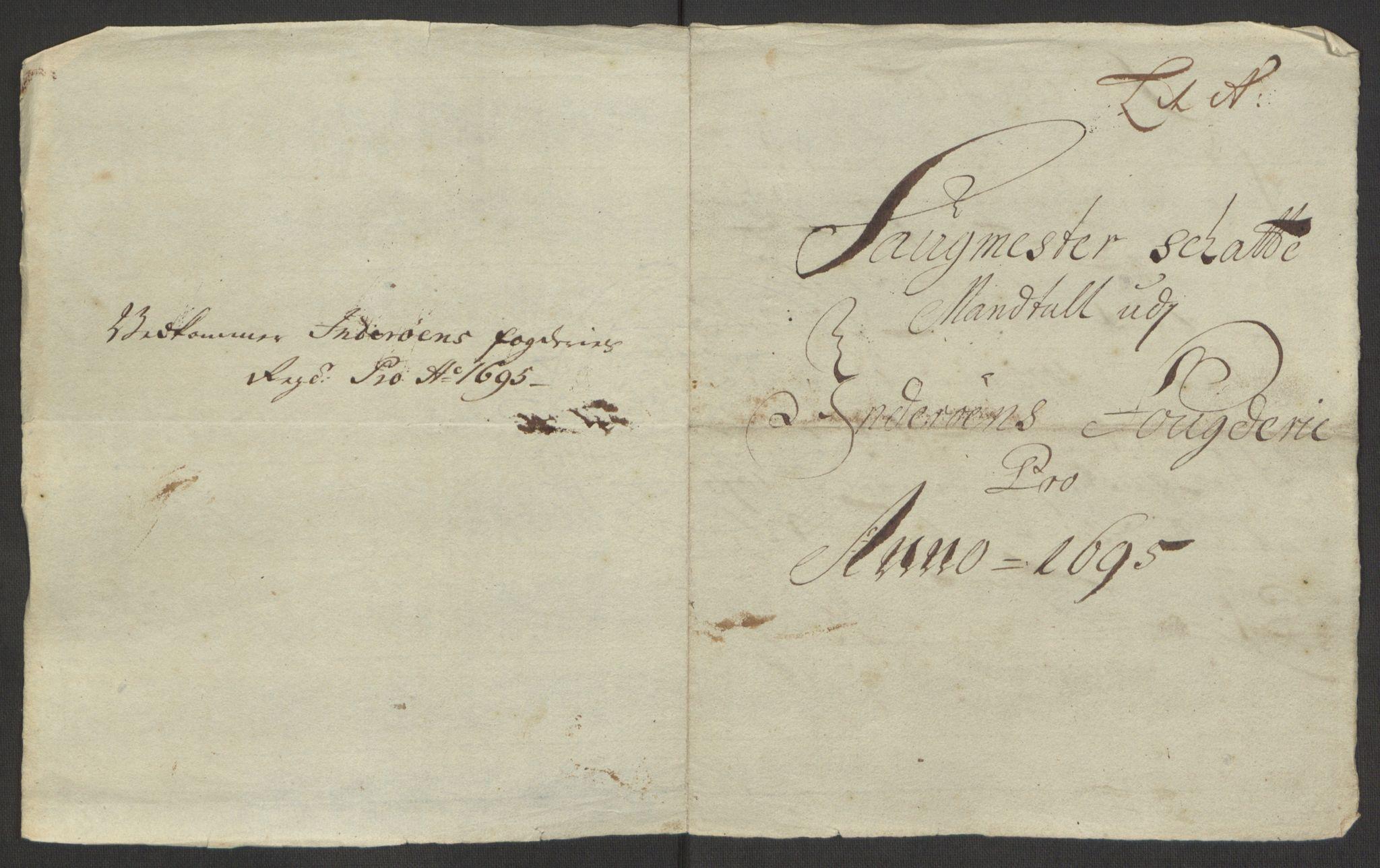 RA, Rentekammeret inntil 1814, Reviderte regnskaper, Fogderegnskap, R63/L4309: Fogderegnskap Inderøy, 1695-1697, s. 17