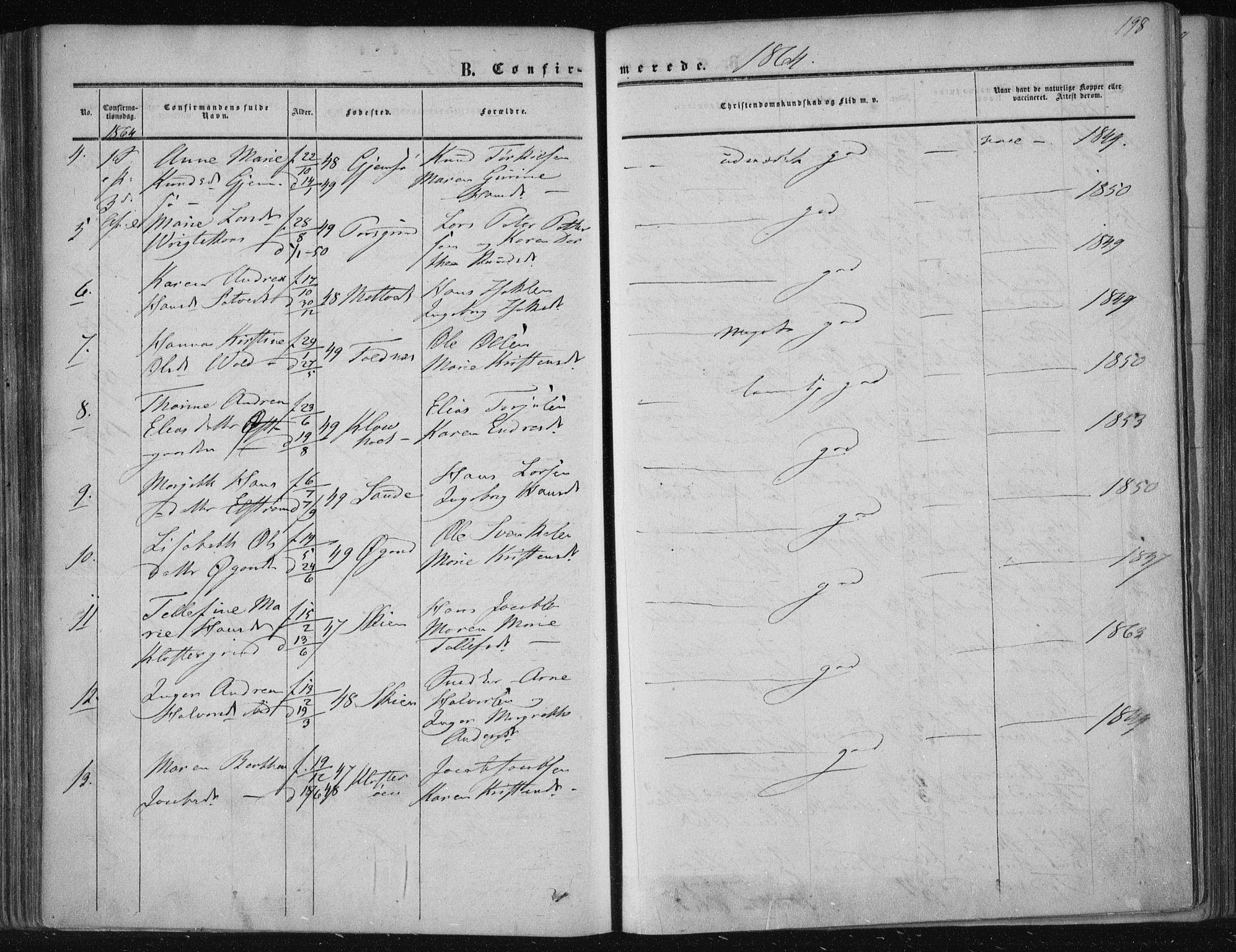 SAKO, Solum kirkebøker, F/Fa/L0007: Ministerialbok nr. I 7, 1856-1864, s. 198