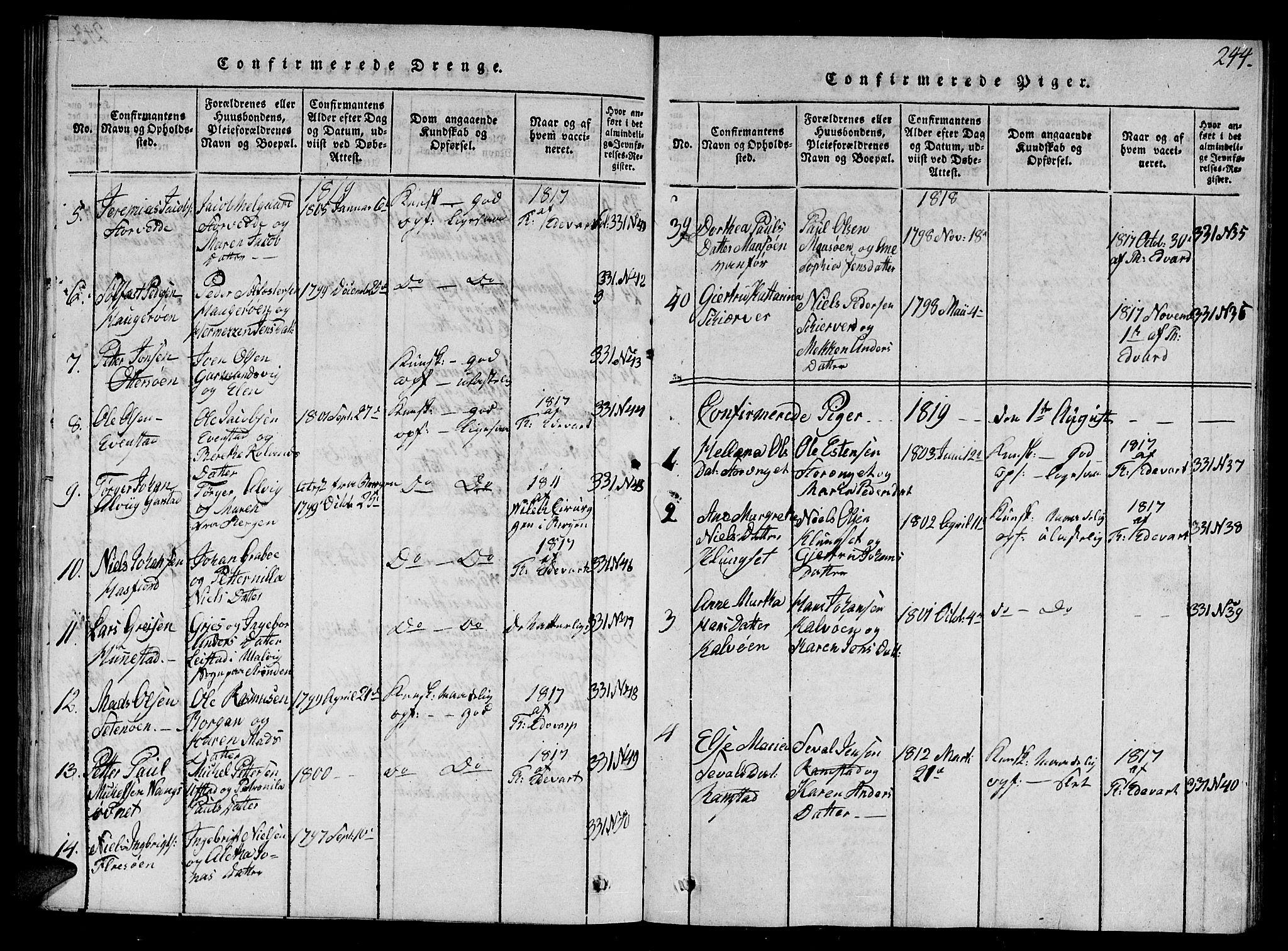 SAT, Ministerialprotokoller, klokkerbøker og fødselsregistre - Nord-Trøndelag, 784/L0679: Klokkerbok nr. 784C01 /1, 1816-1822, s. 244