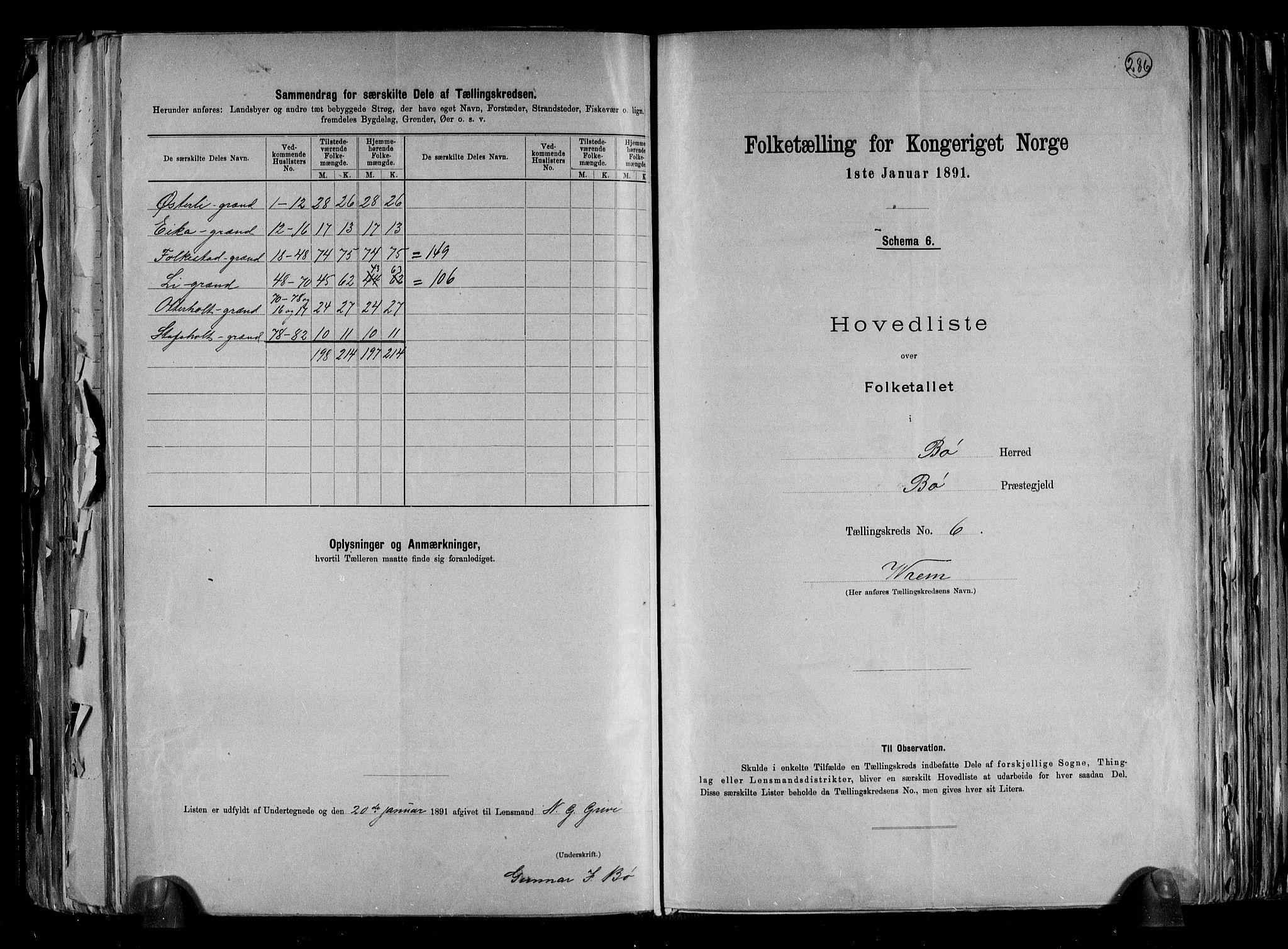 RA, Folketelling 1891 for 0821 Bø herred, 1891, s. 14