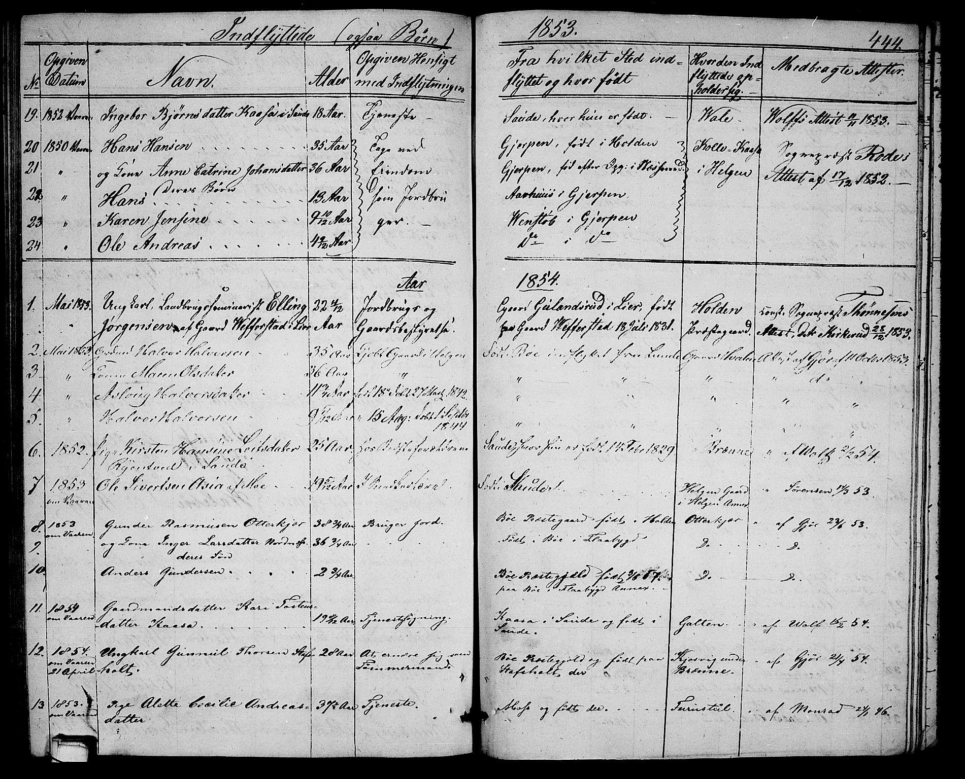 SAKO, Holla kirkebøker, G/Ga/L0003: Klokkerbok nr. I 3, 1849-1866, s. 444