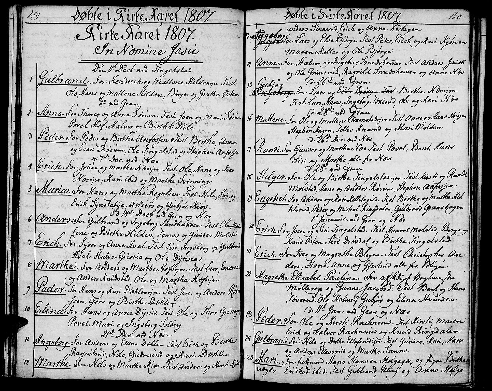 SAH, Gran prestekontor, Ministerialbok nr. 8, 1798-1811, s. 159-160