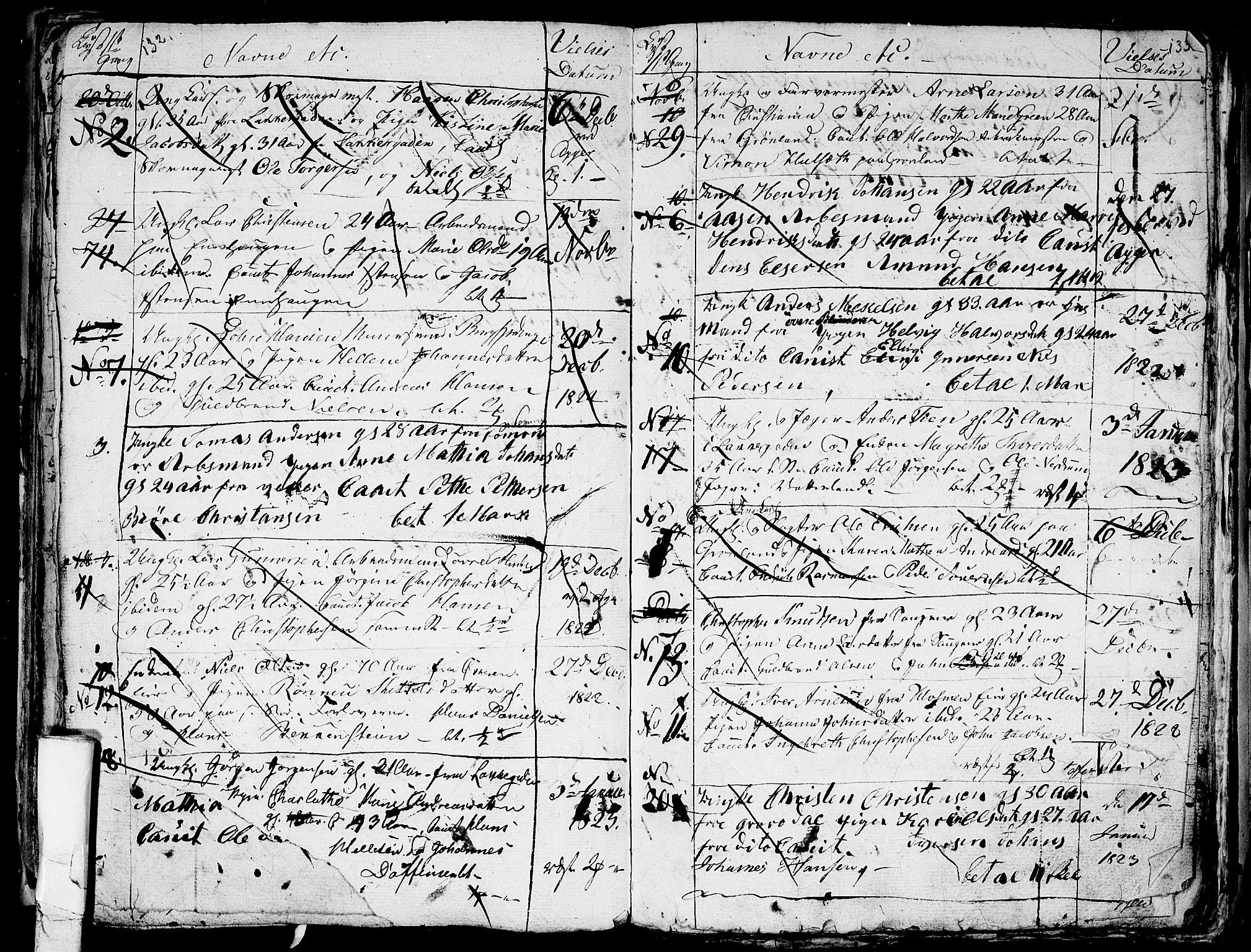 SAO, Aker prestekontor kirkebøker, G/L0001: Klokkerbok nr. 1, 1796-1826, s. 132-133