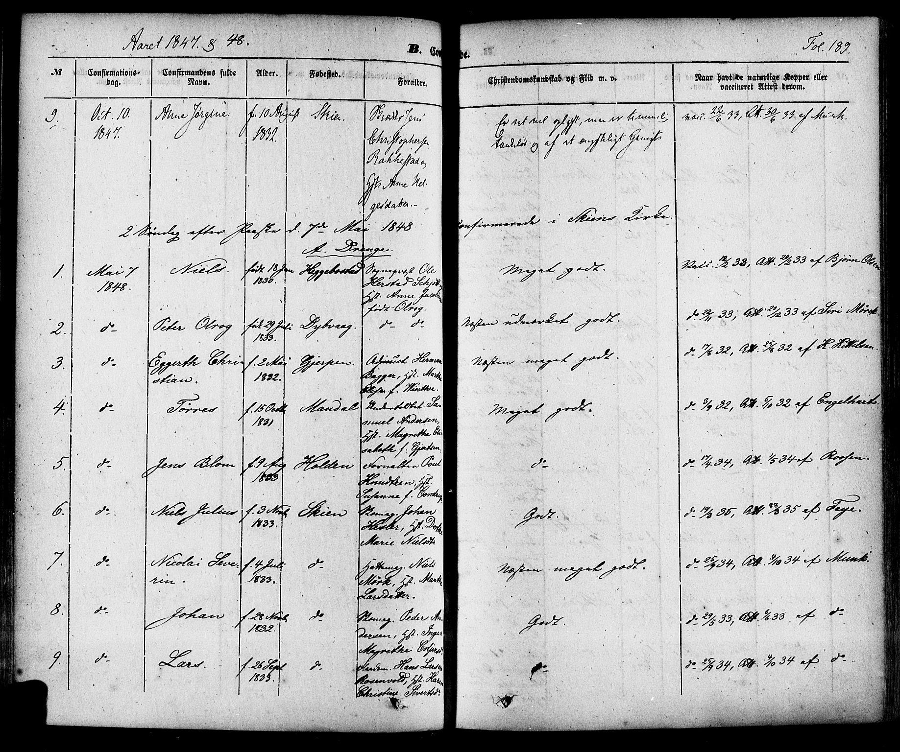 SAKO, Skien kirkebøker, F/Fa/L0006a: Ministerialbok nr. 6A, 1843-1856, s. 189
