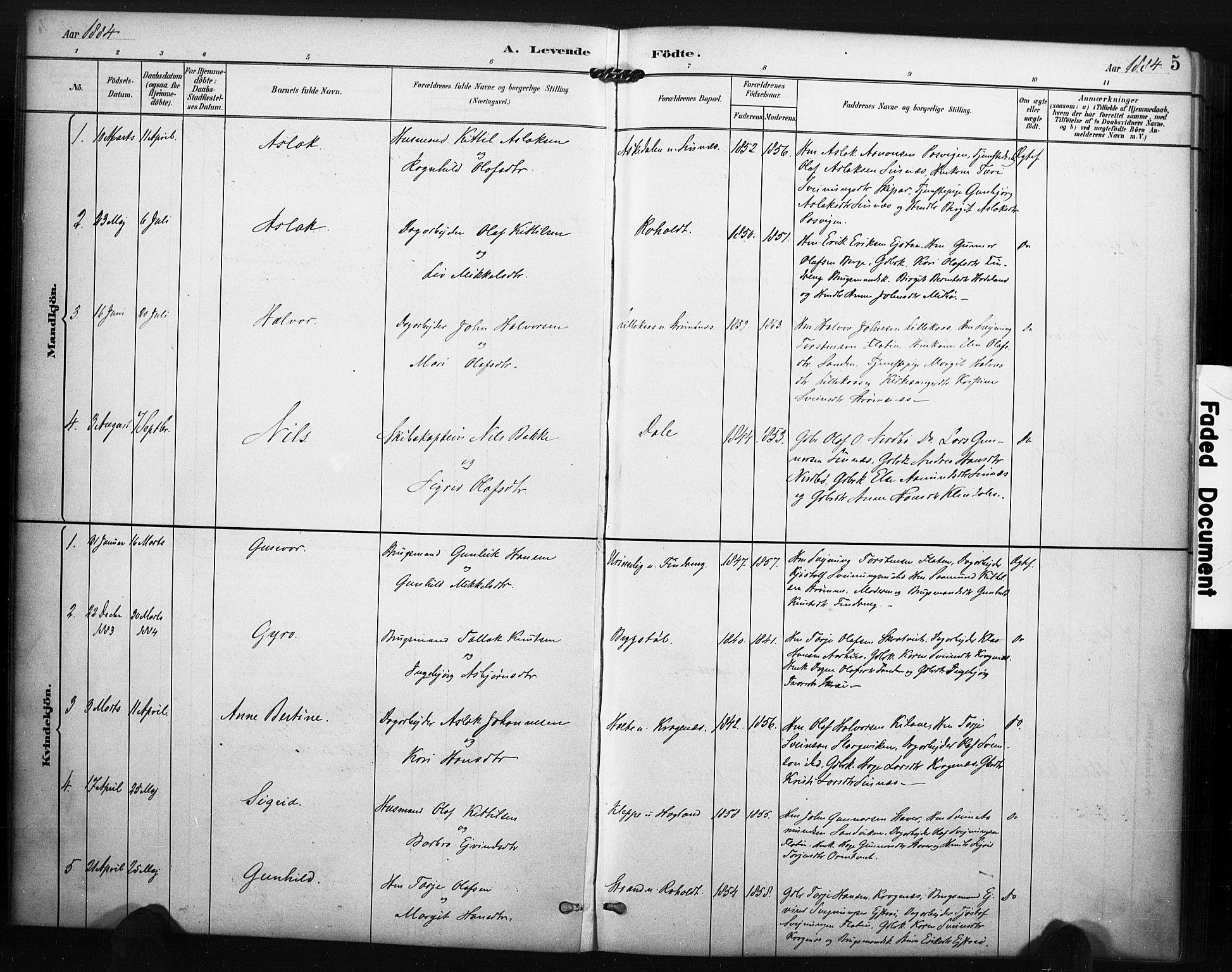 SAKO, Kviteseid kirkebøker, F/Fc/L0002: Ministerialbok nr. III 2, 1882-1908, s. 5
