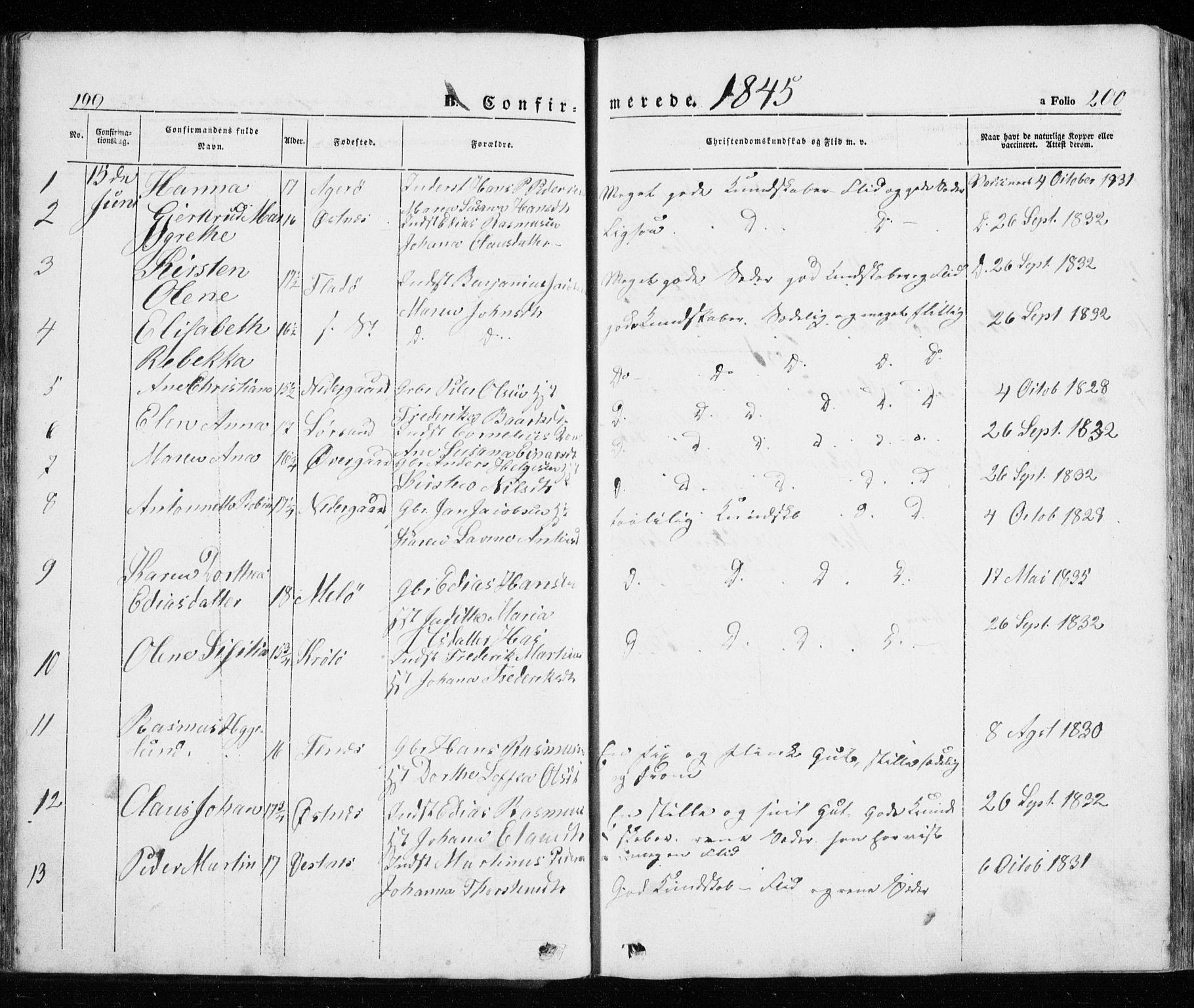SATØ, Trondenes sokneprestkontor, H/Ha/L0010kirke: Ministerialbok nr. 10, 1840-1865, s. 199-200