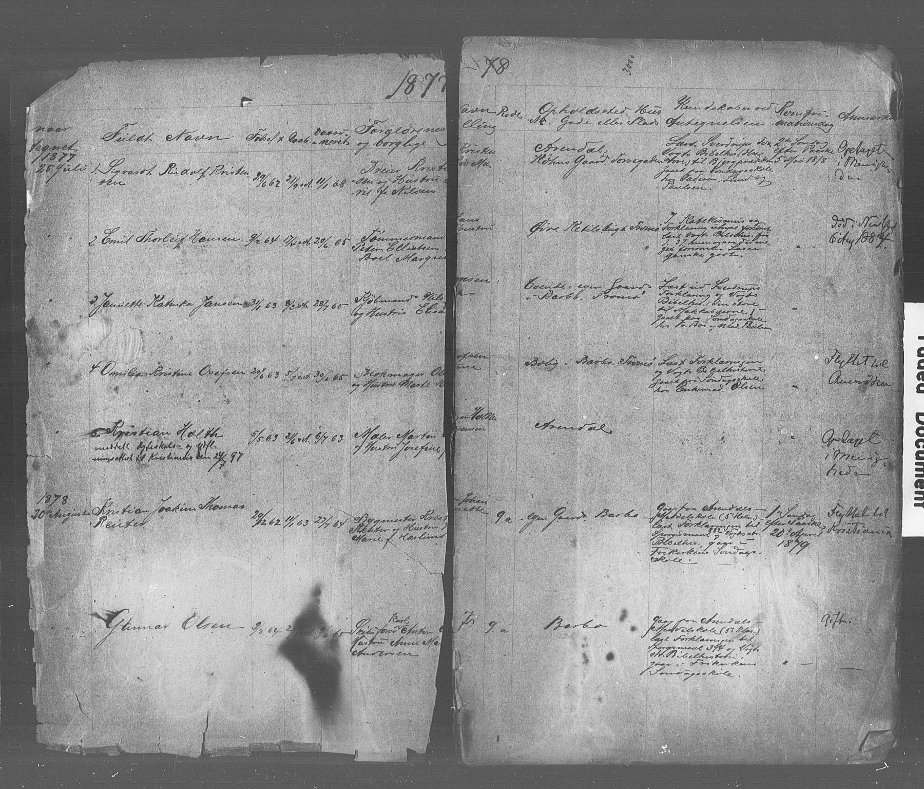SAK, Den evangelisk-lutherske frimenighet, Arendal, F/Fa/L0001: Dissenterprotokoll nr. F 5, 1877-1883
