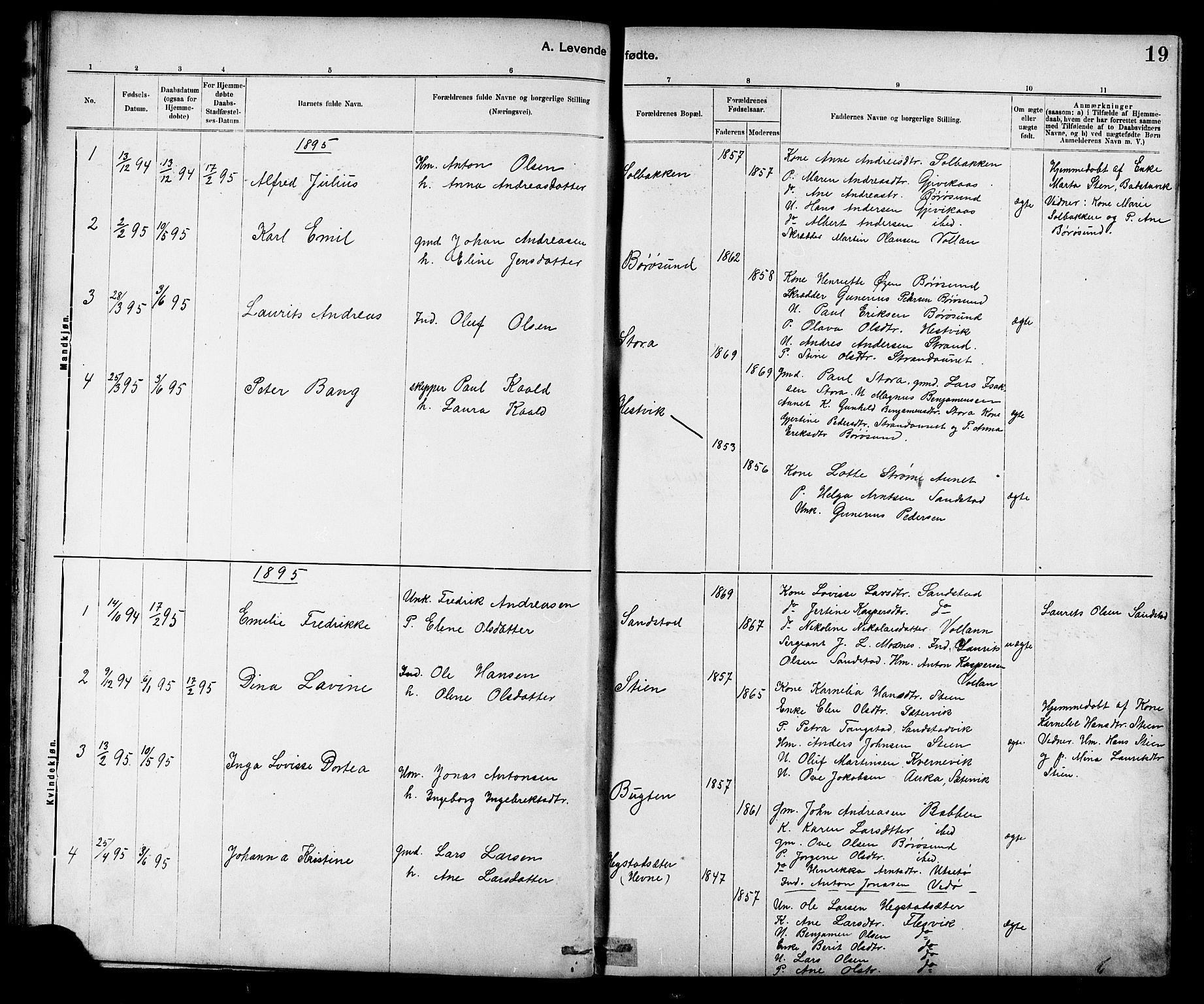 SAT, Ministerialprotokoller, klokkerbøker og fødselsregistre - Sør-Trøndelag, 639/L0573: Klokkerbok nr. 639C01, 1890-1905, s. 19
