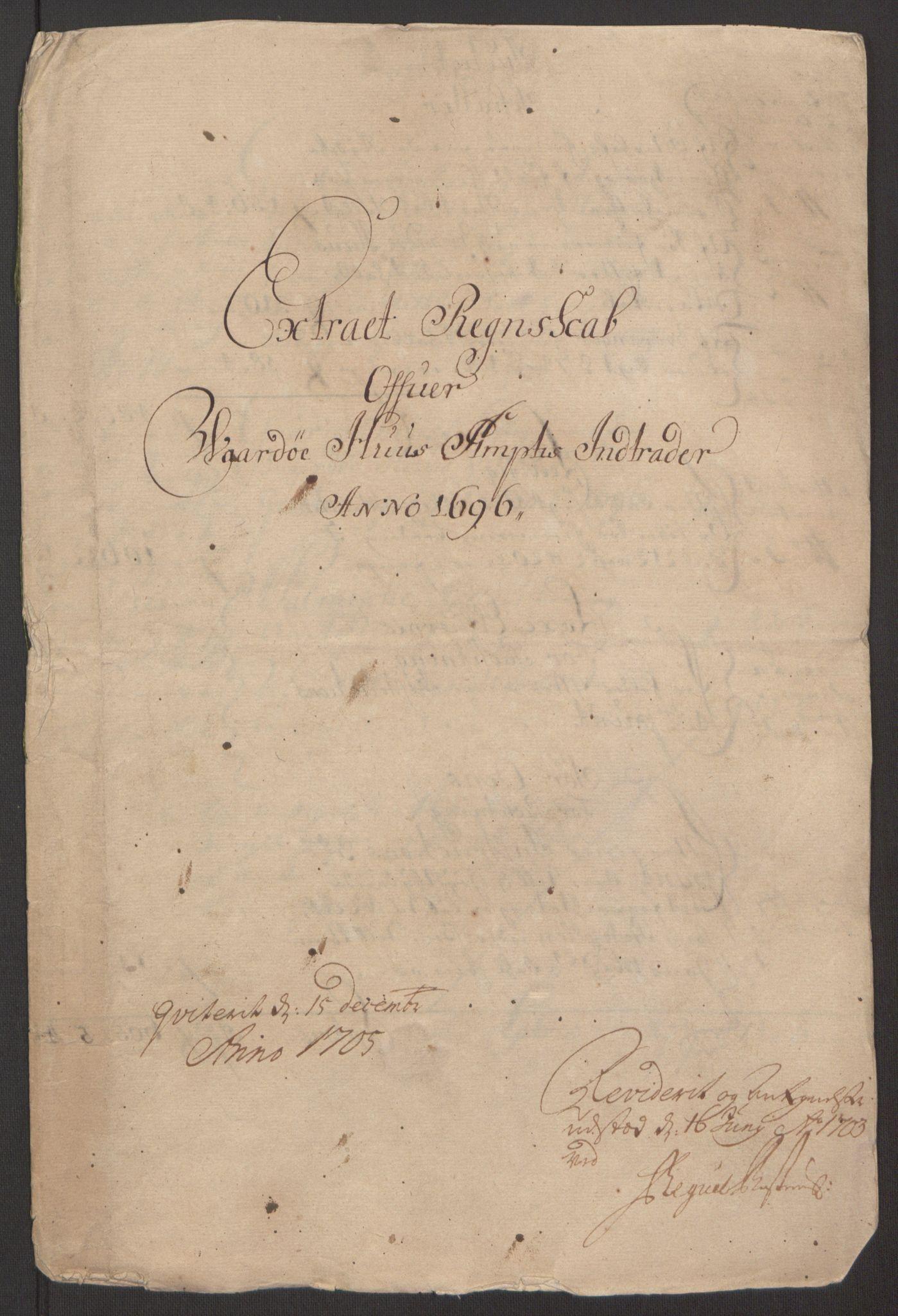 RA, Rentekammeret inntil 1814, Reviderte regnskaper, Fogderegnskap, R69/L4851: Fogderegnskap Finnmark/Vardøhus, 1691-1700, s. 261