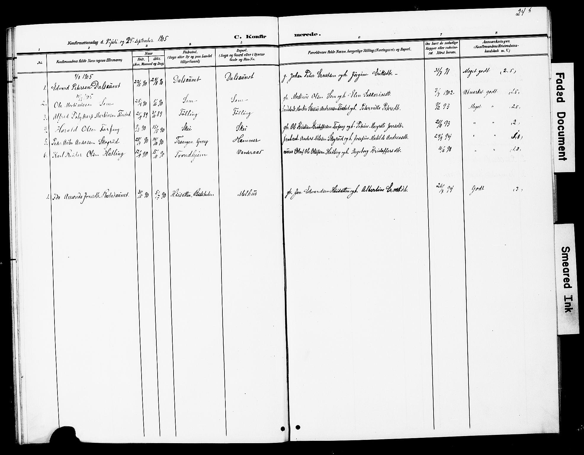 SAT, Ministerialprotokoller, klokkerbøker og fødselsregistre - Nord-Trøndelag, 748/L0464: Ministerialbok nr. 748A01, 1900-1908, s. 24b