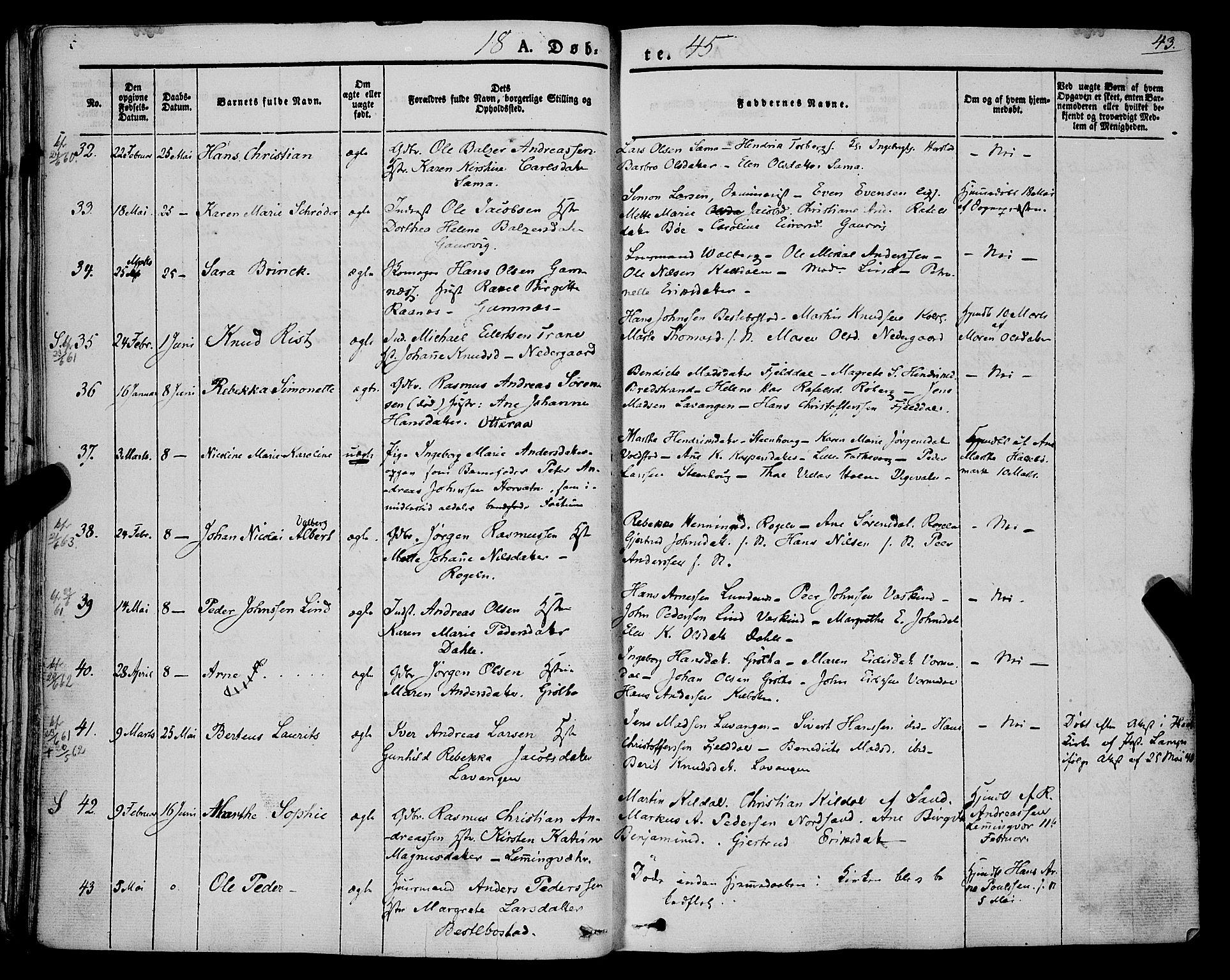 SATØ, Trondenes sokneprestkontor, H/Ha/L0009kirke: Ministerialbok nr. 9, 1841-1852, s. 43