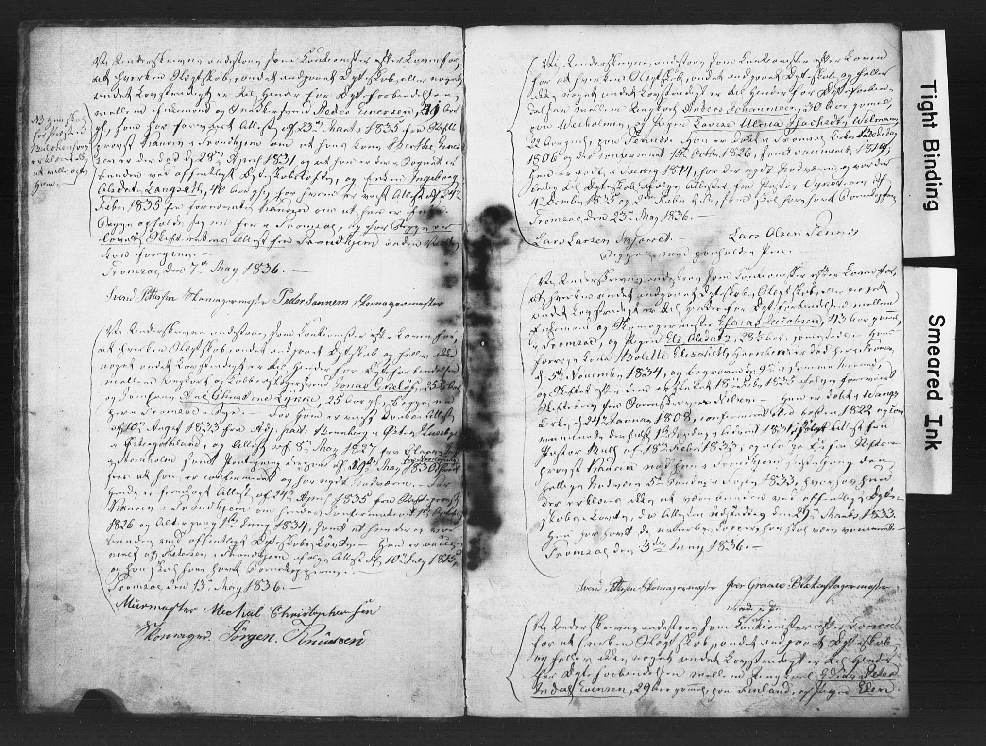 SATØ, Tromsø sokneprestkontor/stiftsprosti/domprosti, H/Hc/L0095: Forlovererklæringer nr. 1, 1836-1838