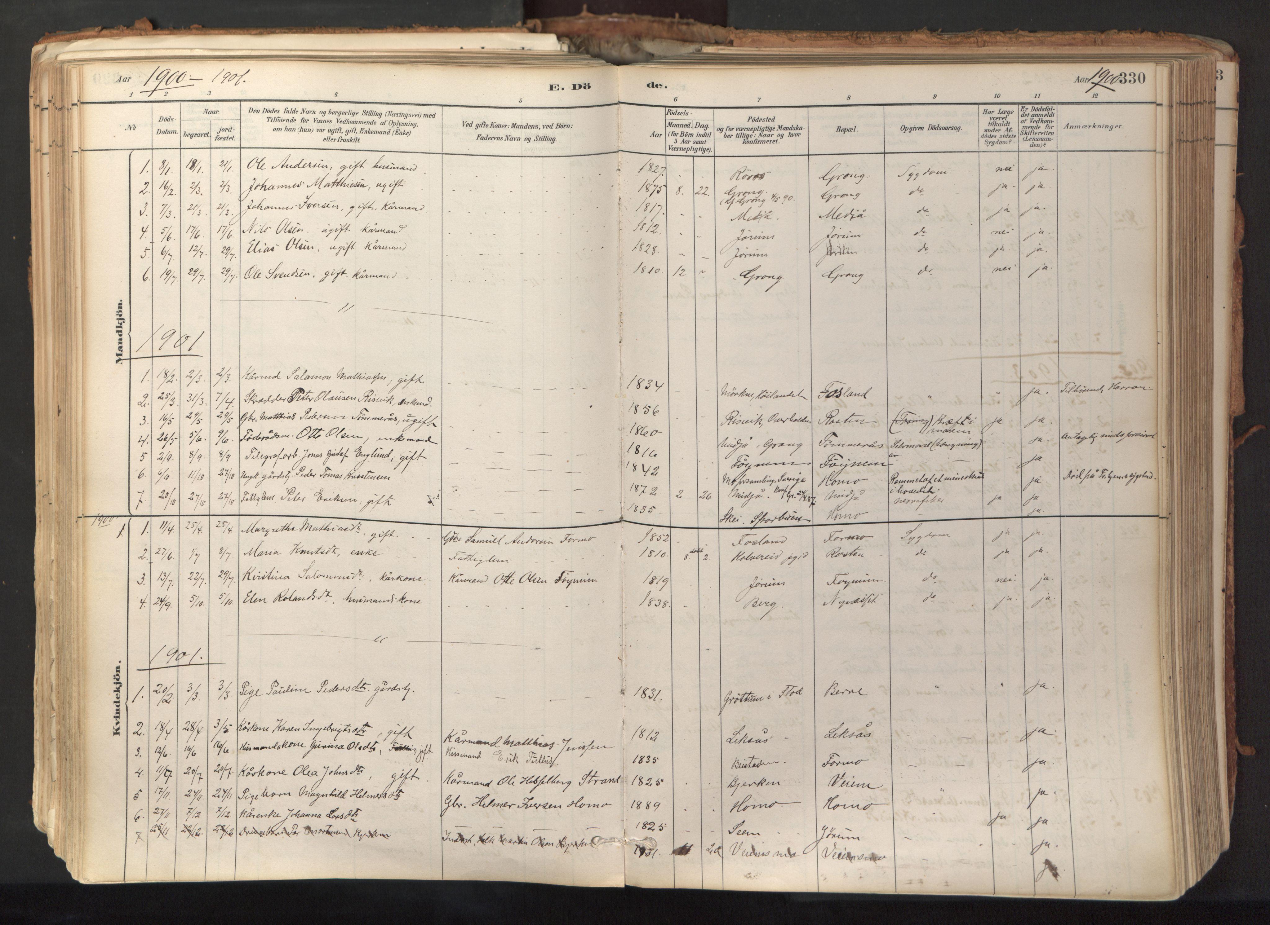 SAT, Ministerialprotokoller, klokkerbøker og fødselsregistre - Nord-Trøndelag, 758/L0519: Ministerialbok nr. 758A04, 1880-1926, s. 330