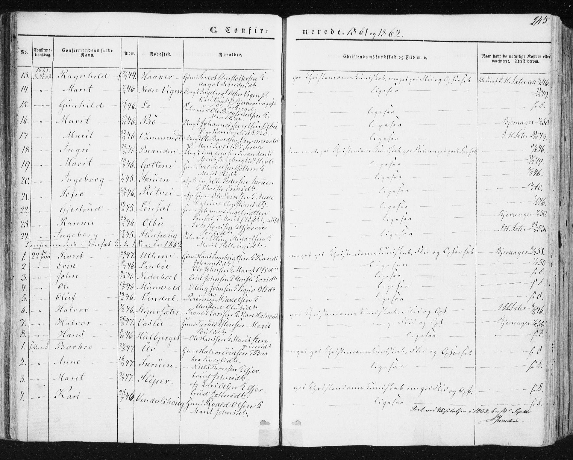 SAT, Ministerialprotokoller, klokkerbøker og fødselsregistre - Sør-Trøndelag, 678/L0899: Ministerialbok nr. 678A08, 1848-1872, s. 245