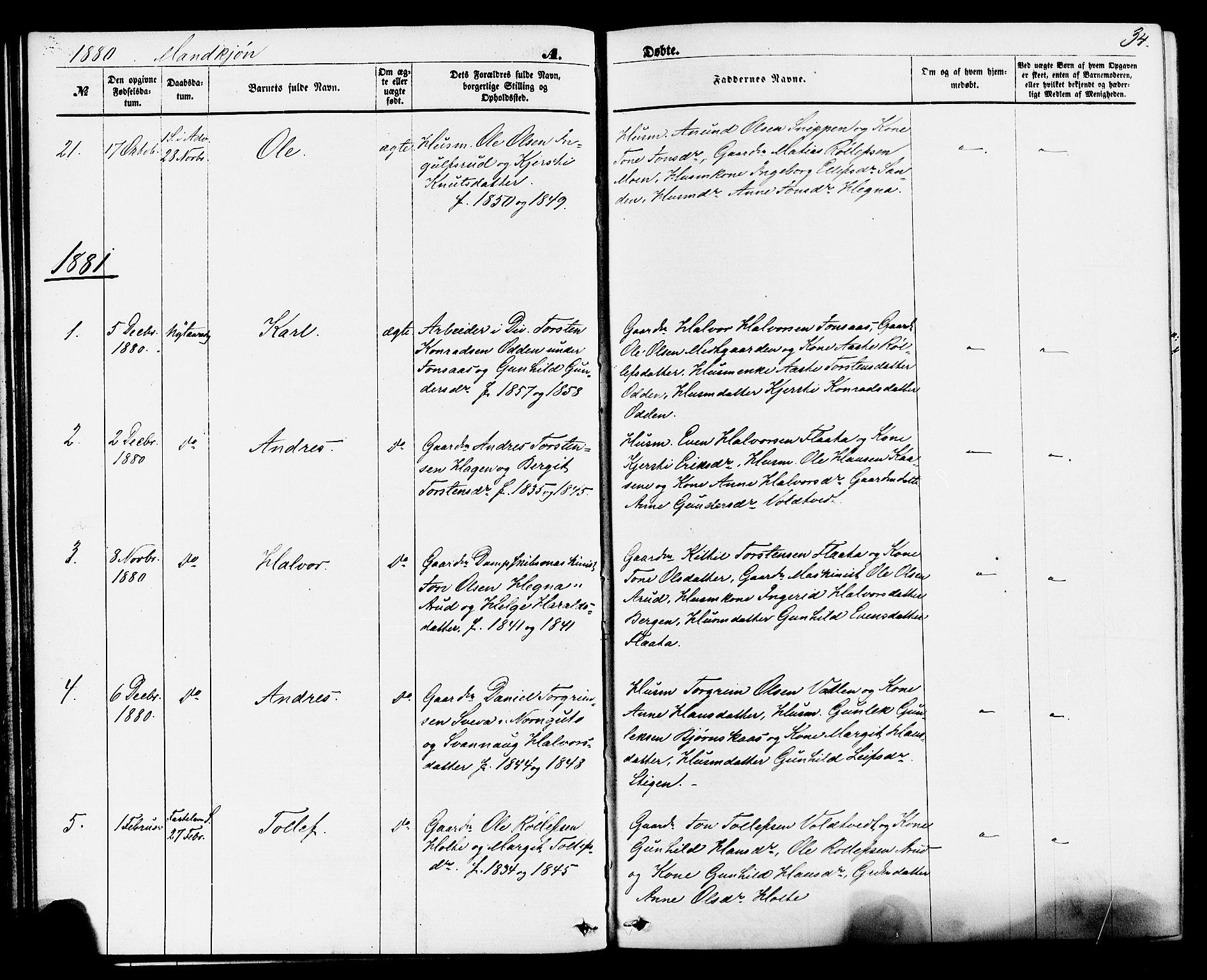 SAKO, Sauherad kirkebøker, F/Fa/L0008: Ministerialbok nr. I 8, 1873-1886, s. 34