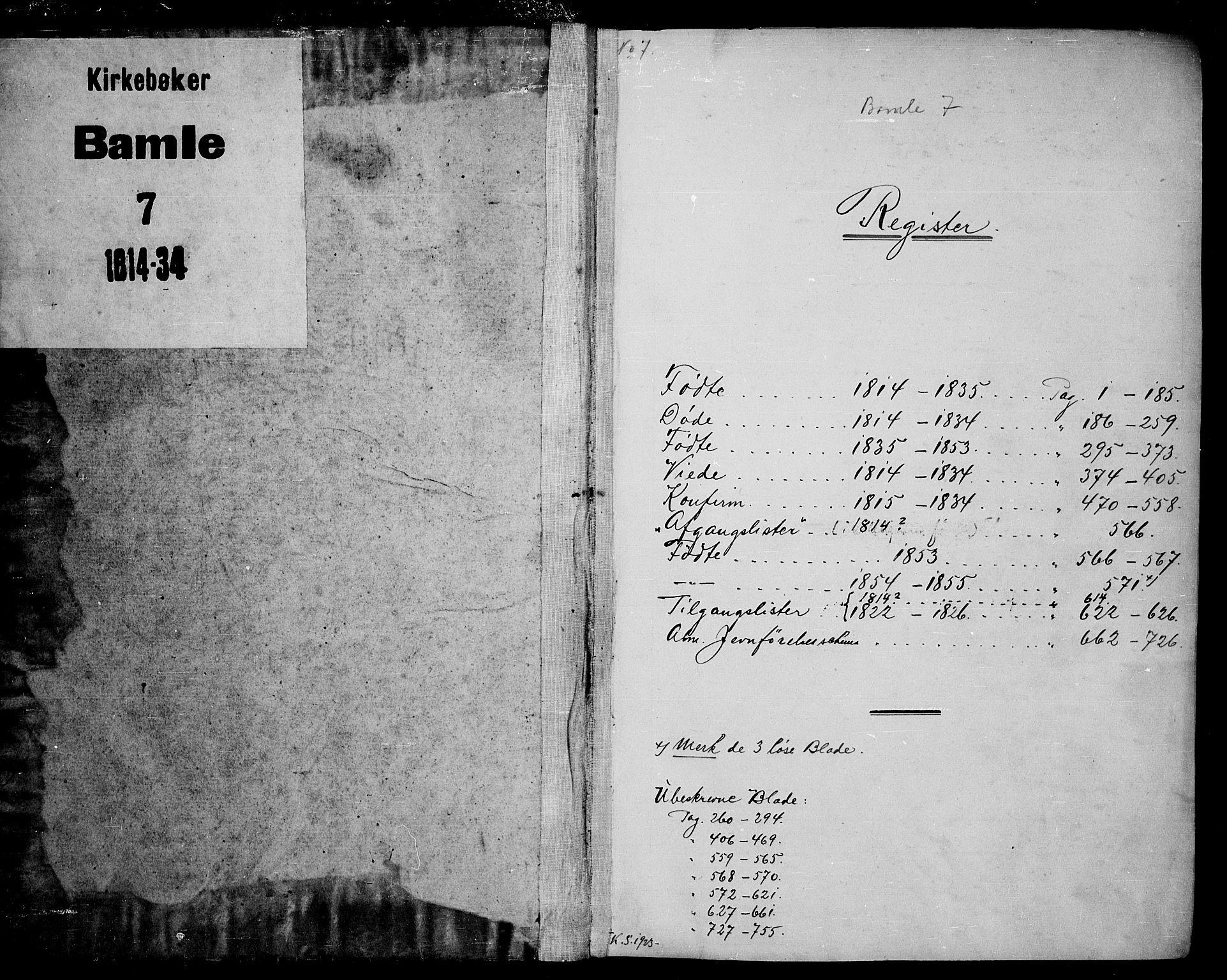 SAKO, Bamble kirkebøker, G/Ga/L0005: Klokkerbok nr. I 5, 1814-1855
