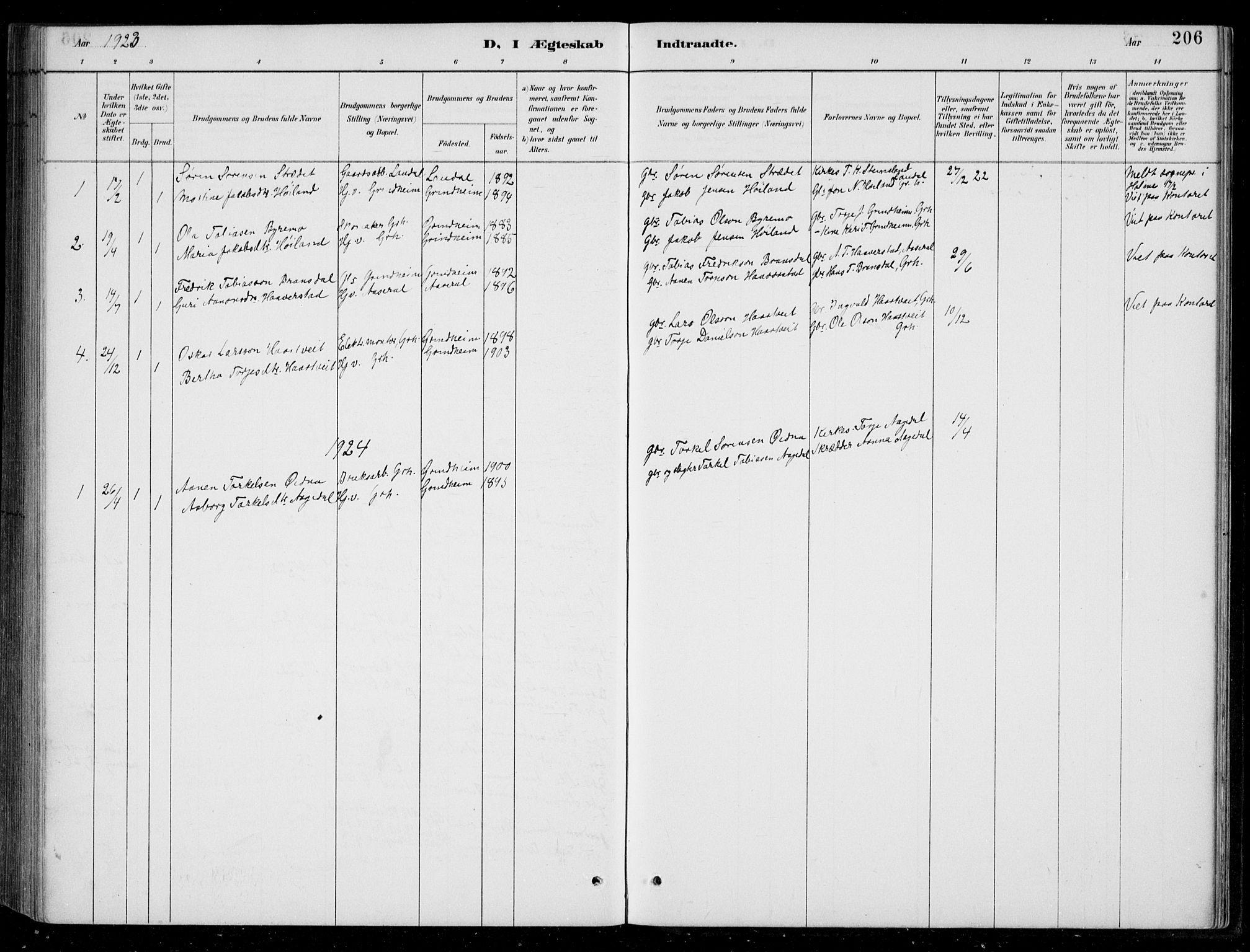 SAK, Bjelland sokneprestkontor, F/Fb/Fbc/L0003: Klokkerbok nr. B 3, 1887-1924, s. 206